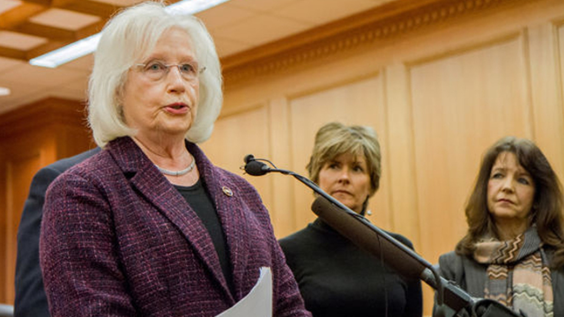 Jan. 15, 2014: Republican Sen. Mae Beavers of Mt. Juliet, left, speaks at a press conference in Nashville, Tenn., about her bill seeking to ban state participation in the federal health care law. To her right are state Republican Reps.Terri Lynn Weaver of Lancaster and Sheila Butt of Columbia.