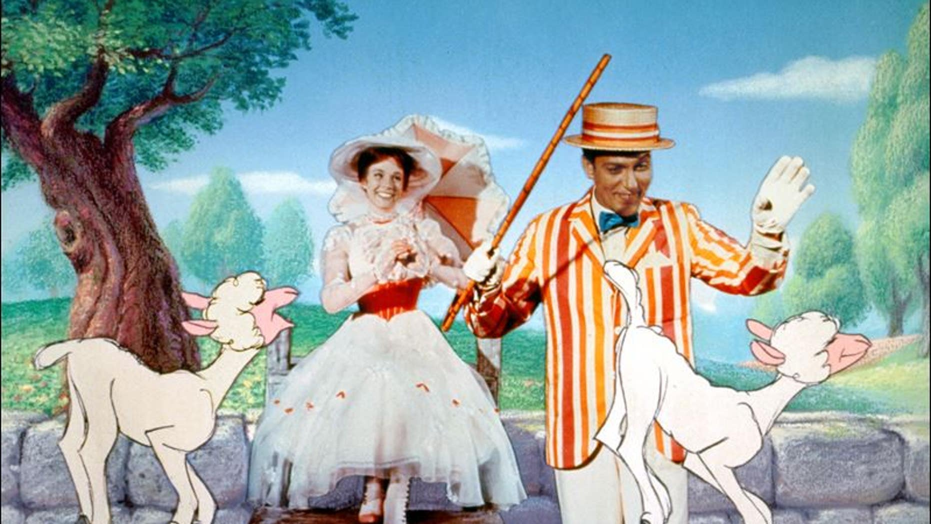 Julie Andrews as Mary Poppins and Dick Van Dyke as Bert in a scene from Disney's 'Mary Poppins.' The film has been selected for preservation at the Library of Congress