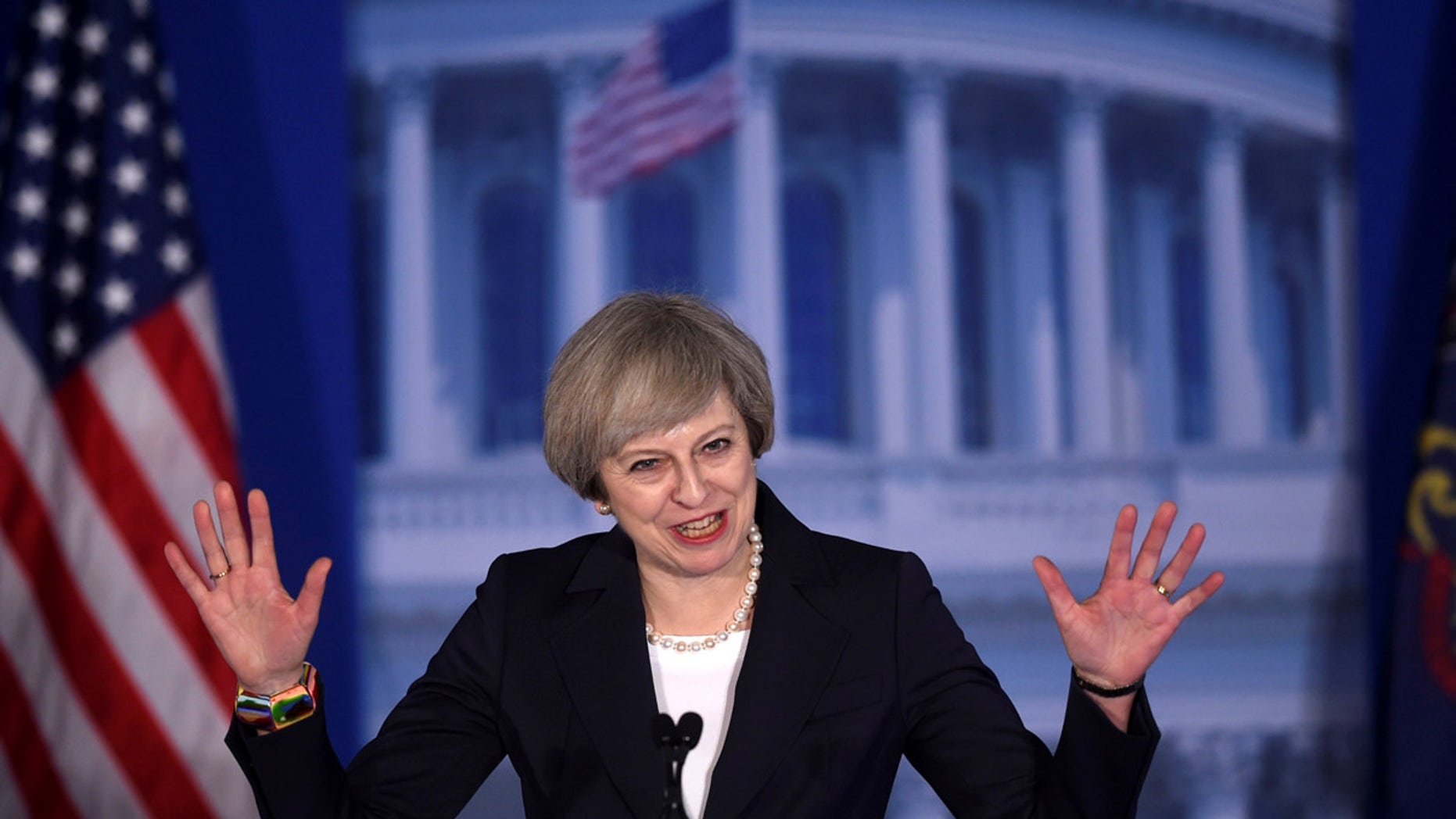 British PM Teresa May speaks during a Republican conference in Philadelphia, Pennsylvania on Jan. 26, 2017.