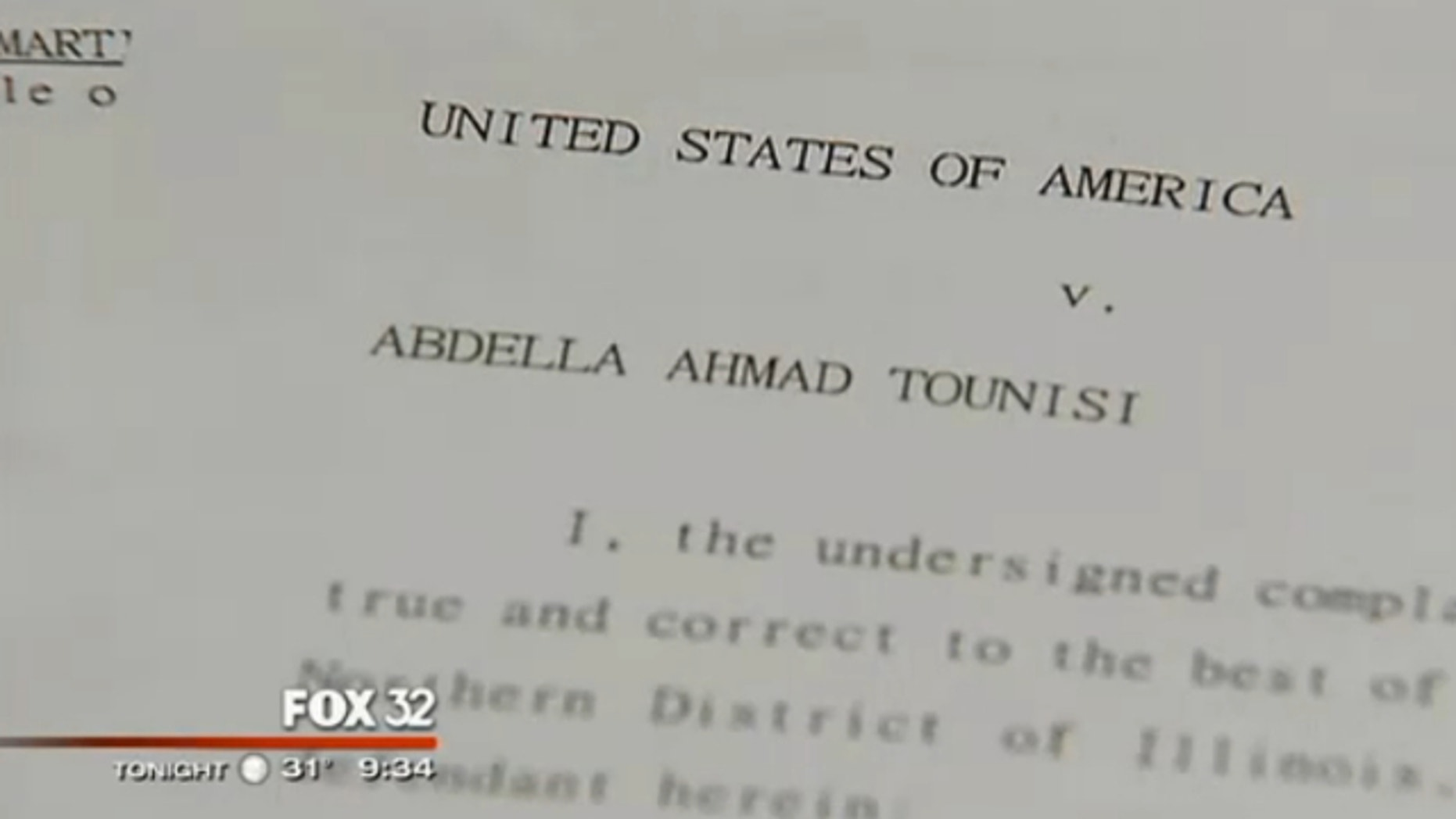 UNDATED: This image shows the federal complaint against 18-year-old Abdella Ahmad Tounisi, who is suspected of trying to join an Al Qaeda-affiliated group in Syria.