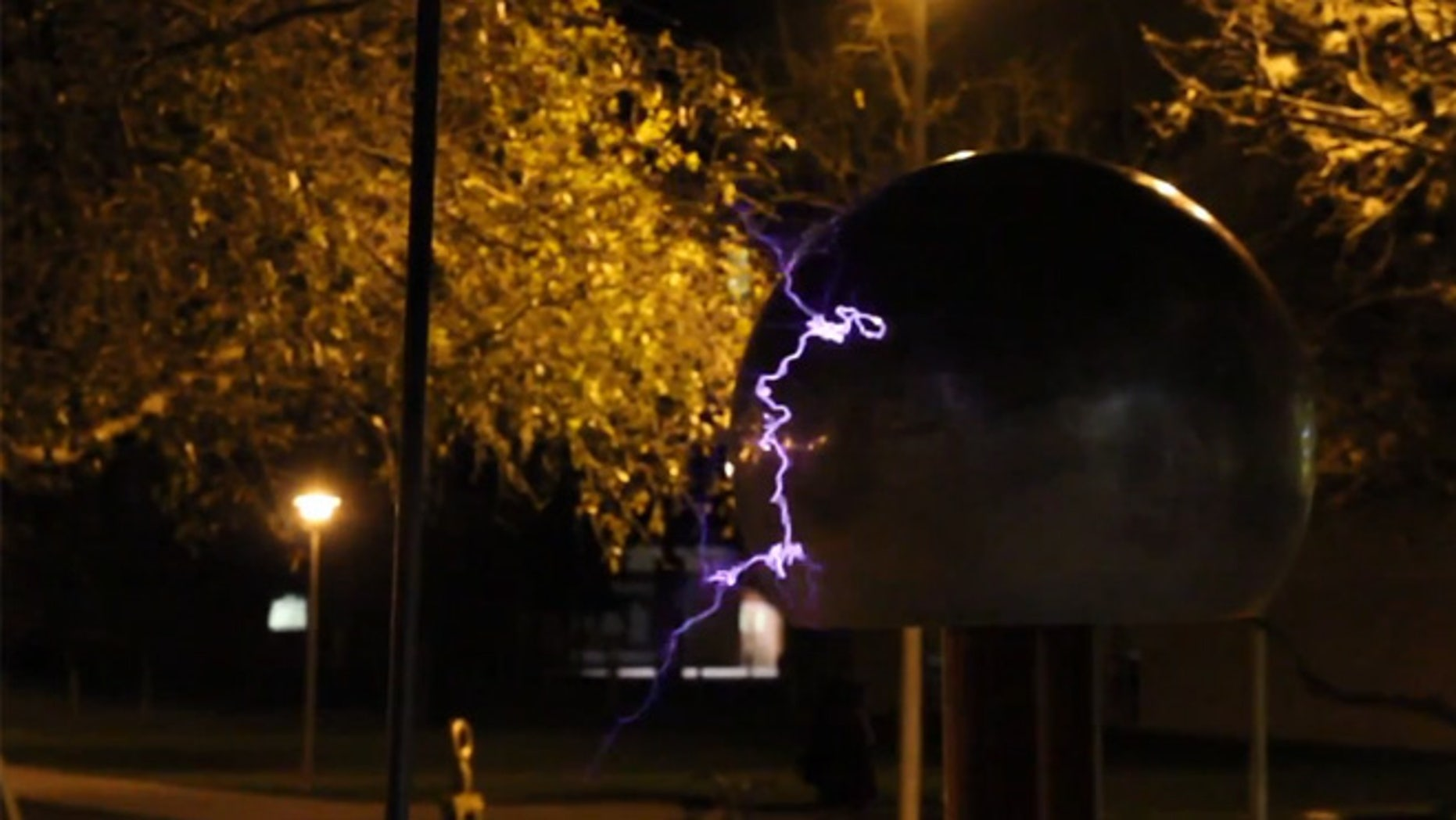 The tesla coil can produce an alternating current and shoots out 15 foot sparks of electricity.