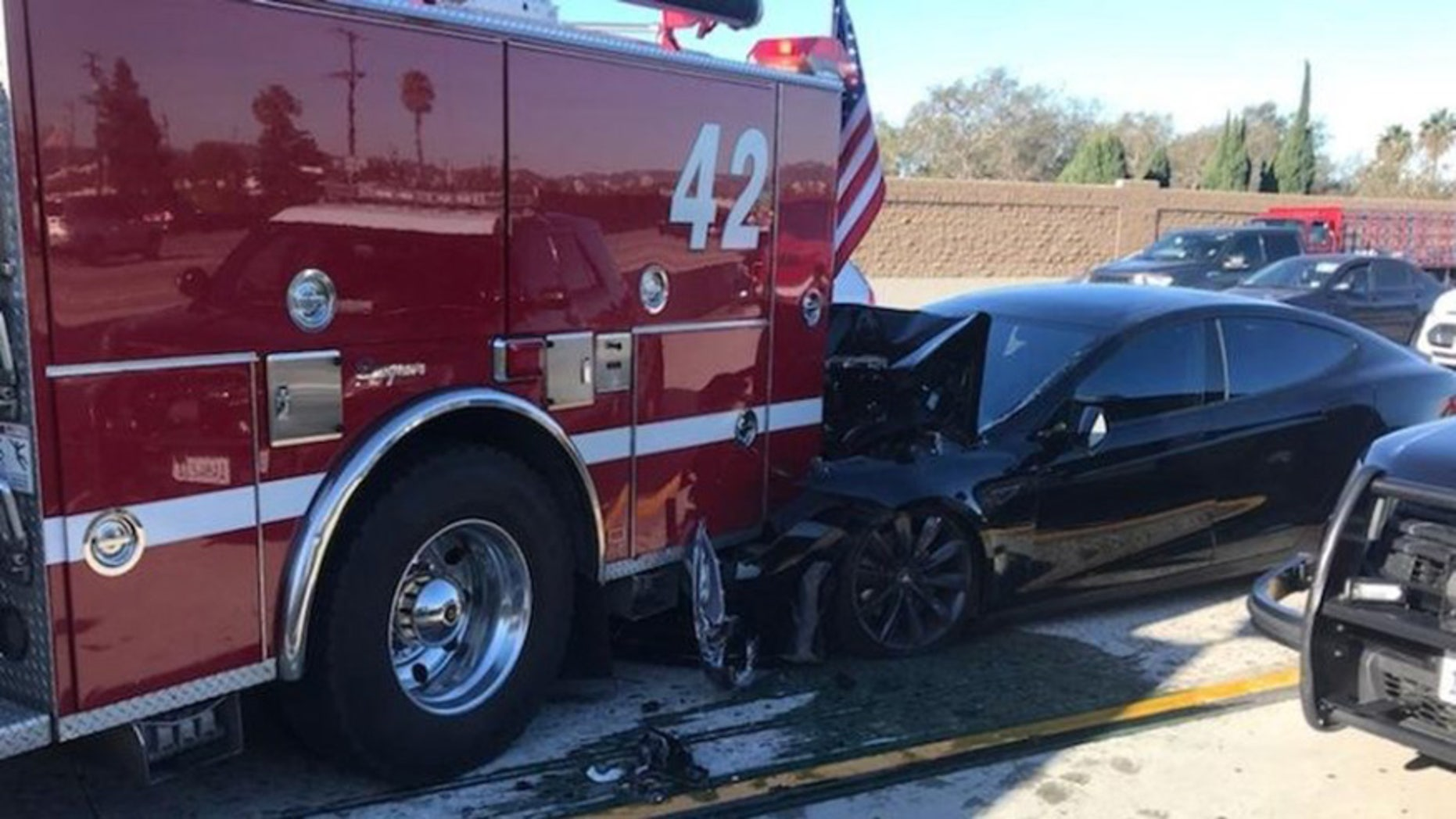 A Tesla rear-ended a fire truck parked to respond to an accident on I-405in Culver City, Calif. on Jan. 22, 2018, according to the Culver City FireDepartment and California Highway Patrol. (Culver City Firefighters Local1927)