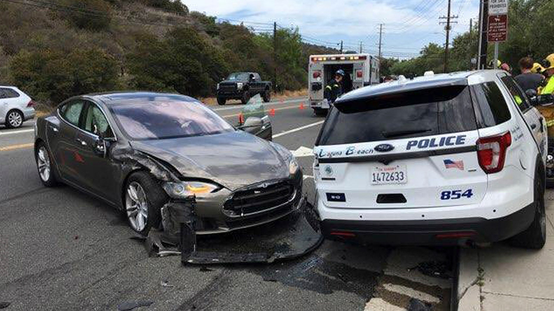 No officers were in the cruiser during the crash Tuesday in Laguna Beach.