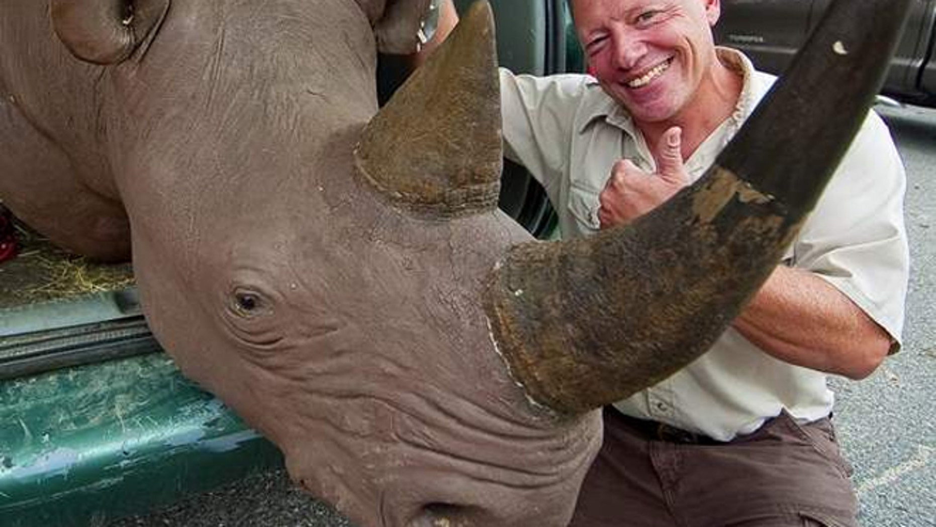 Ari Goldenberg holds a stuffed and mounted head of a black rhinoceros that was recently returned to him after the U.S. Fish and Wildlife Service seized the head and charged him with trafficking of an endangered species.