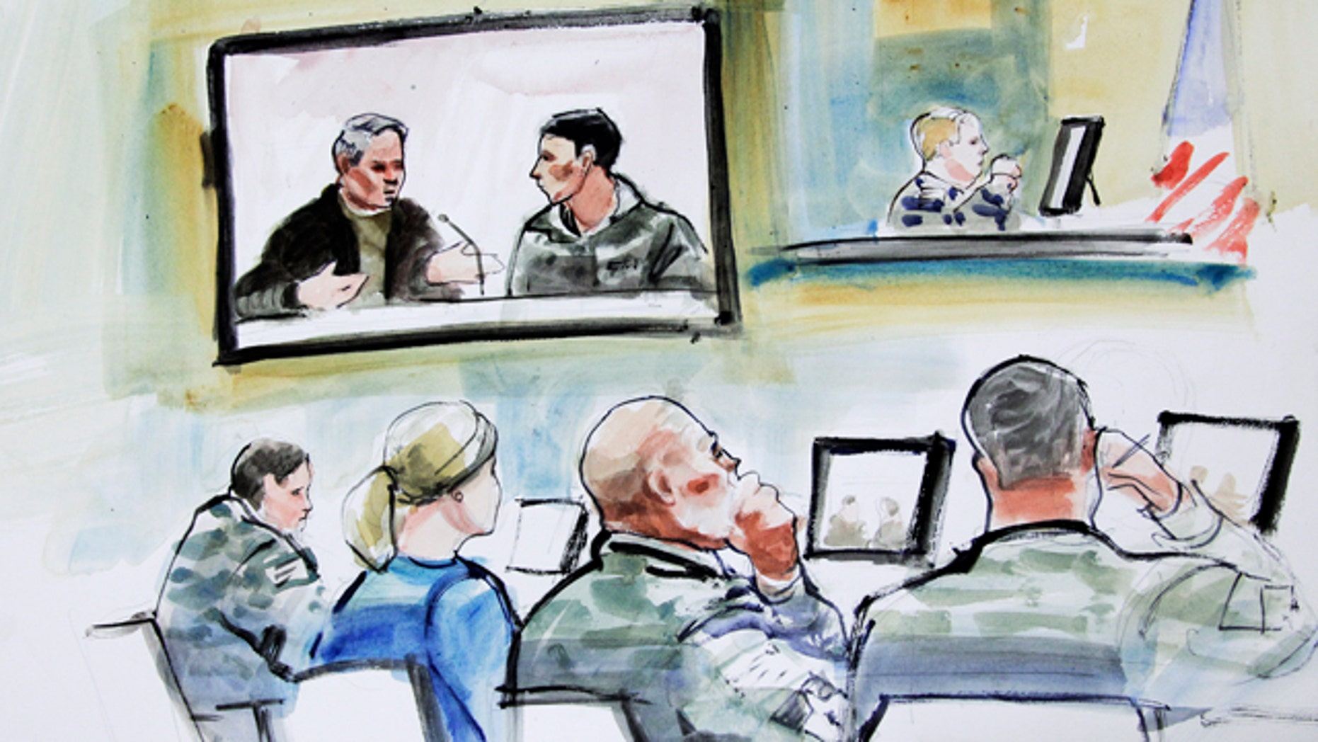 Nov. 9, 2012: In this courtroom sketch, a guard with the Afghan National Army named Nematullah is shown on the right-hand side of a video monitor as he testifies from Afghanistan in the military preliminary hearing of U.S. Army Staff Sgt. Robert Bales in a military courtroom in Washington state.