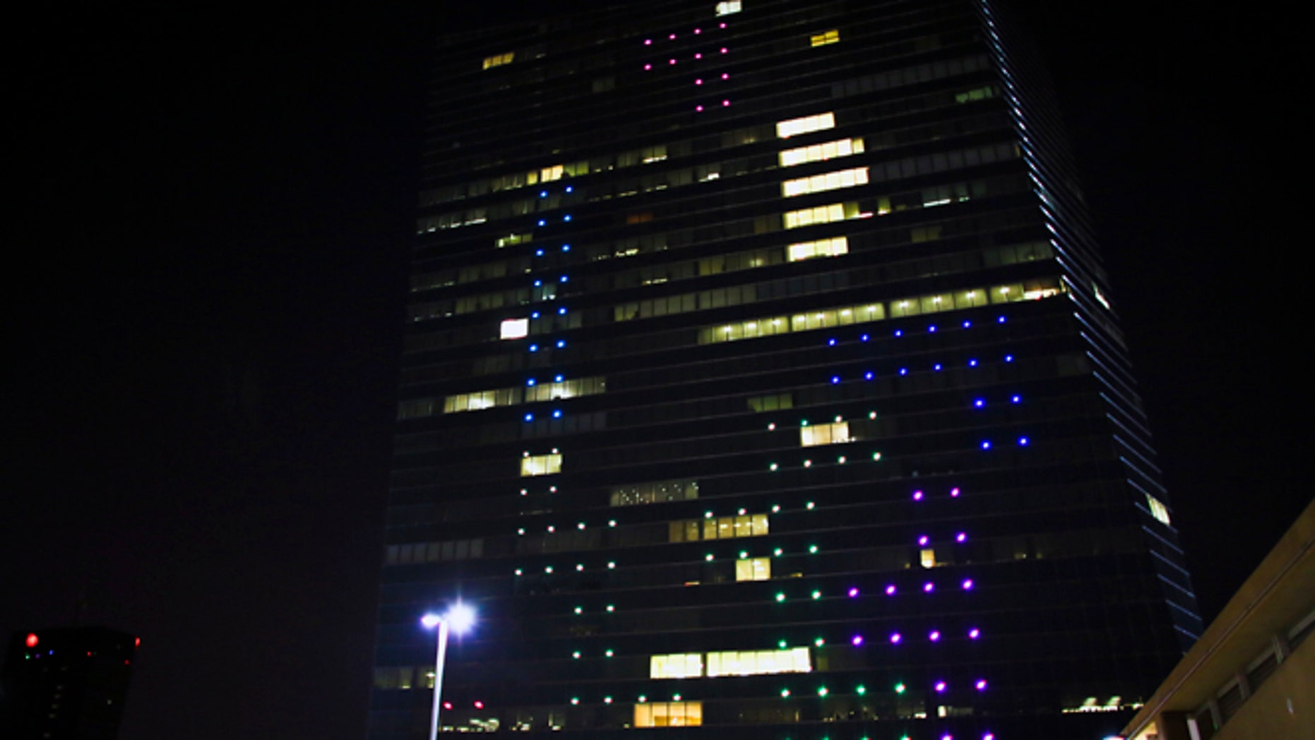 Apr. 5, 2014: The classic video game Tetris is played on the 29-story Cira Centre in Philadelphia using hundreds of LED lights embedded in its glass facade.
