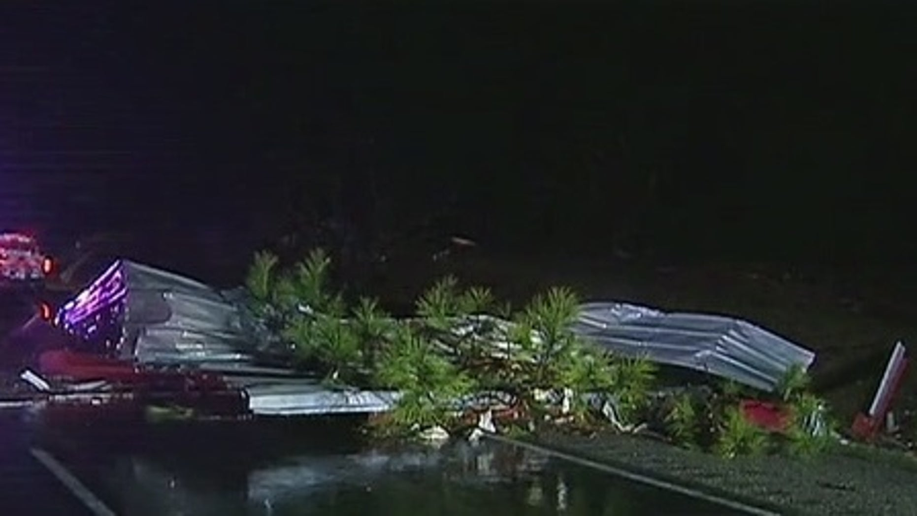 Storm damage in Parker County, Texas.