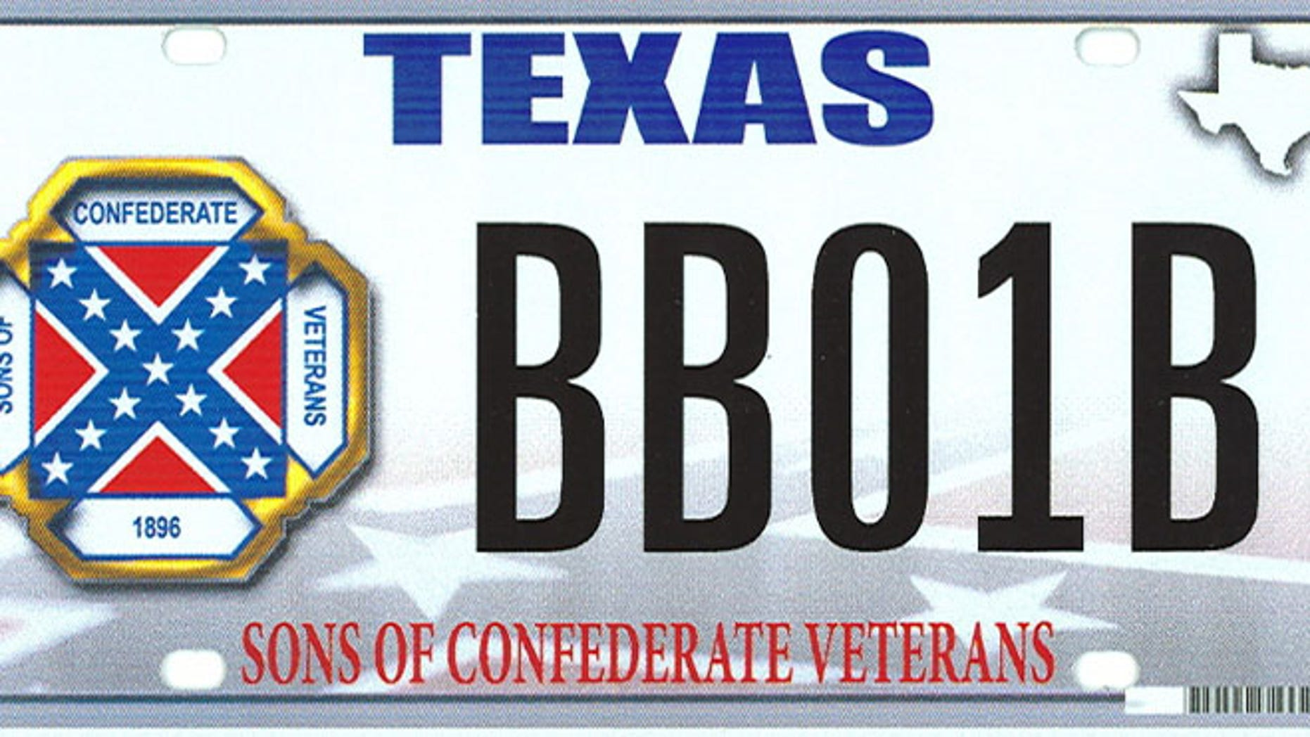 March 23, 2015: This image provided by the Texas Department of Motor Vehicles shows the design of a proposed Sons of Confederate Veterans license plate.