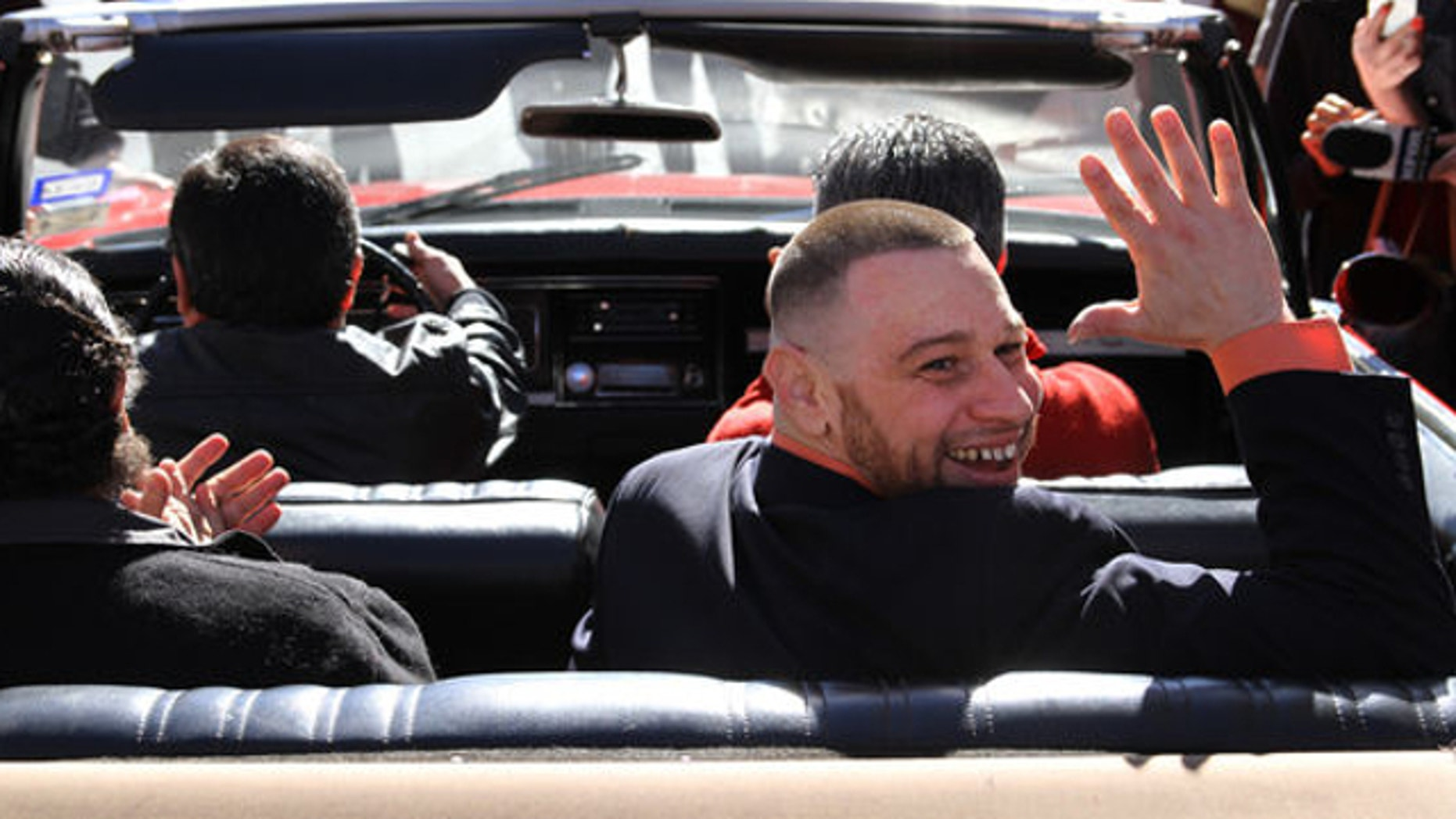 Jan. 14, 2014: Daniel Villegas waves as he leaves county jail in El Paso, Texas. Villegas, convicted in 1995 for the murder of two teens, was released on bond after a court of appeals ruled his defense was inefficient during the 1995 trial.