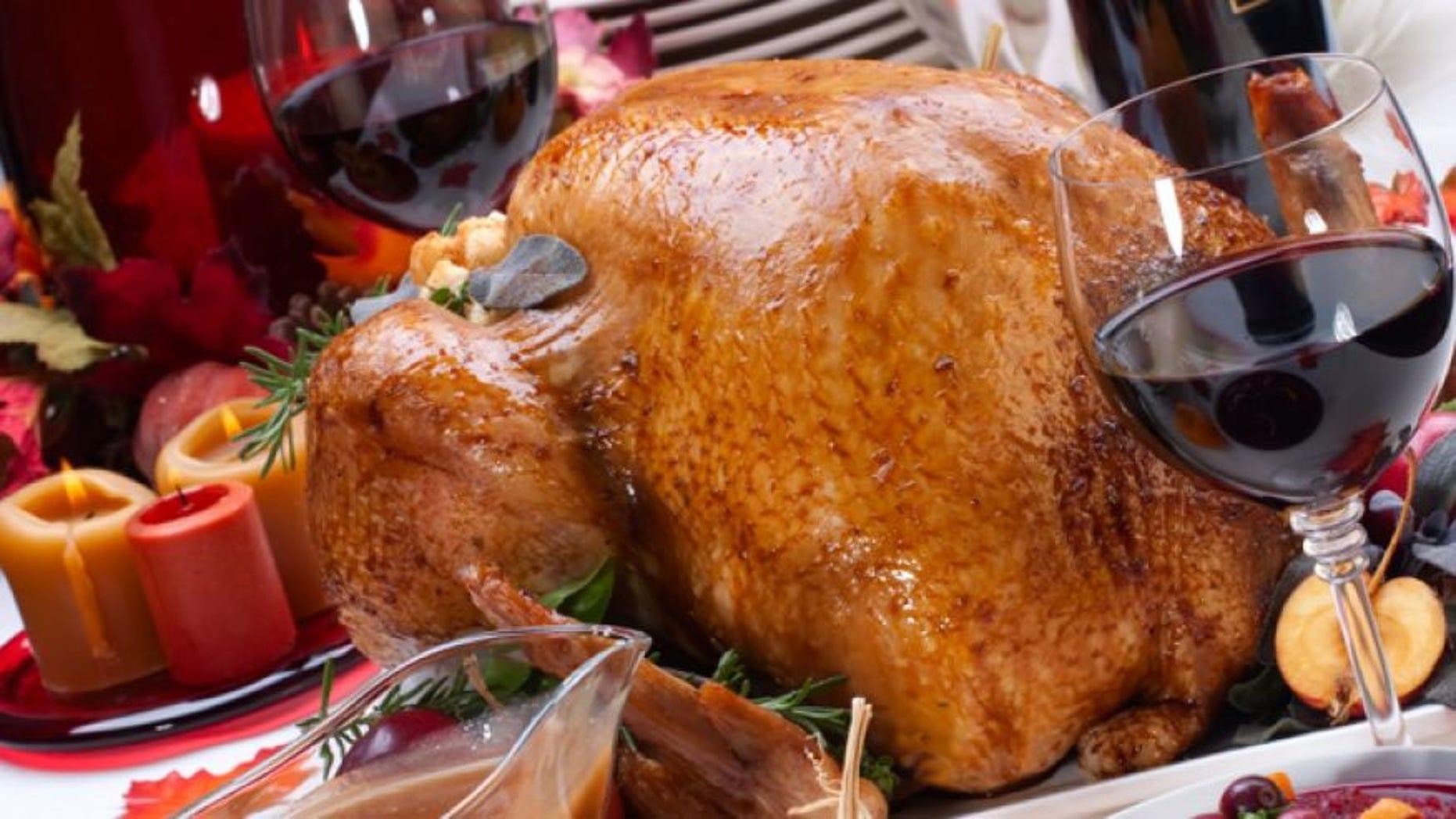 Thanksgiving Turkey and wine.
