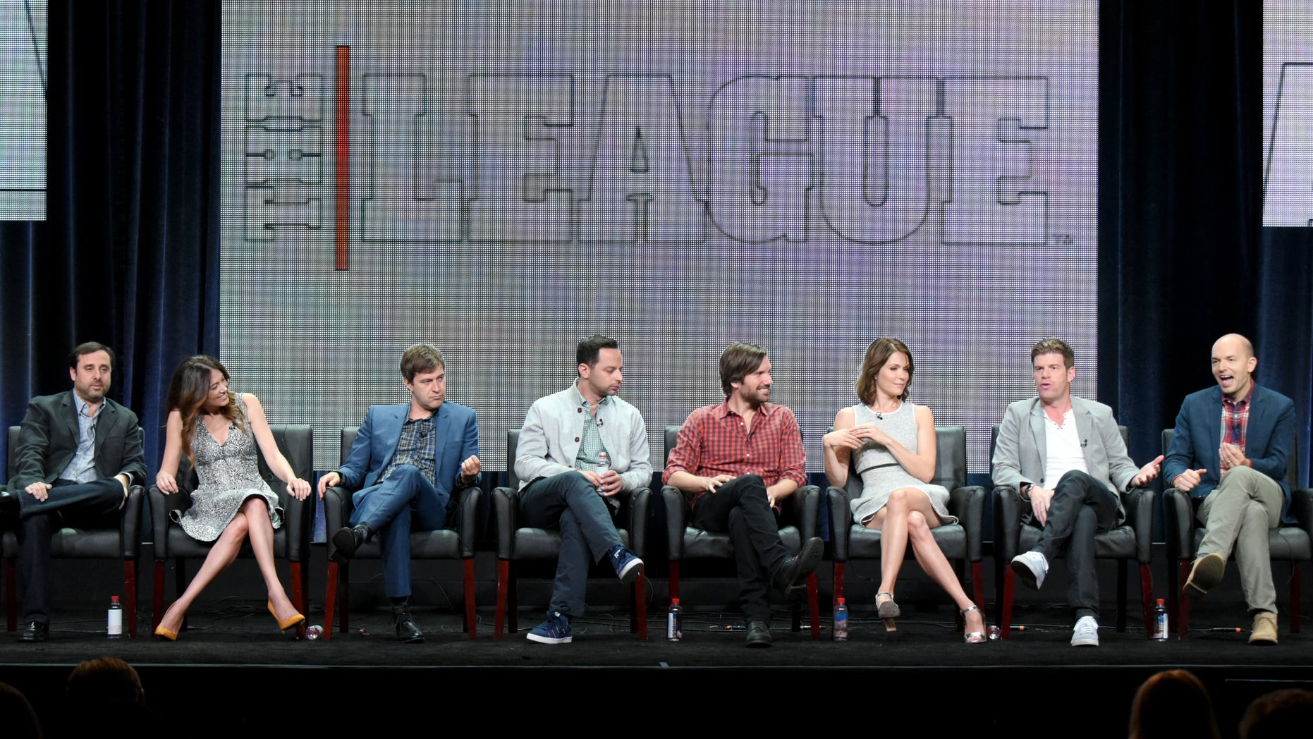 "Co-Creators/Executive Producers/Writers/Directors, from left, Jeff Schaffer, and Jackie Schaffer, and actors Mark Duplass, Nick Kroll, Jon Lajoie, Katie Aselton, Stephen Rannazzisi and Paul Scheer participate in ""The League"" panel at the FX Summer TCA Tour at the Beverly Hilton Hotel on Friday, Aug. 7, 2015, in Beverly Hills, Calif. (Photo by Richard Shotwell/Invision/AP)"