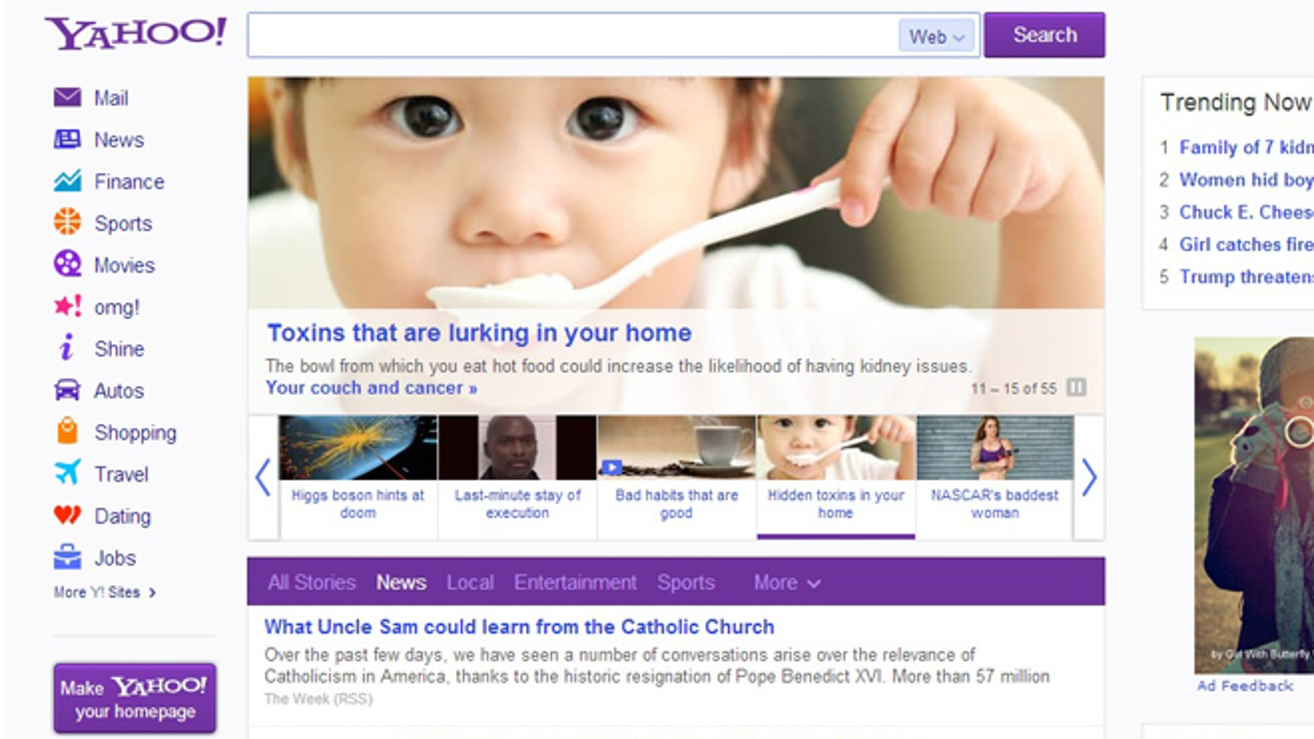 Feb. 20,2013: The first revamp to the Yahoo homepage in years features a scrolling, never-ending news roll, redesigned apps, and deeper integration with Facebook.