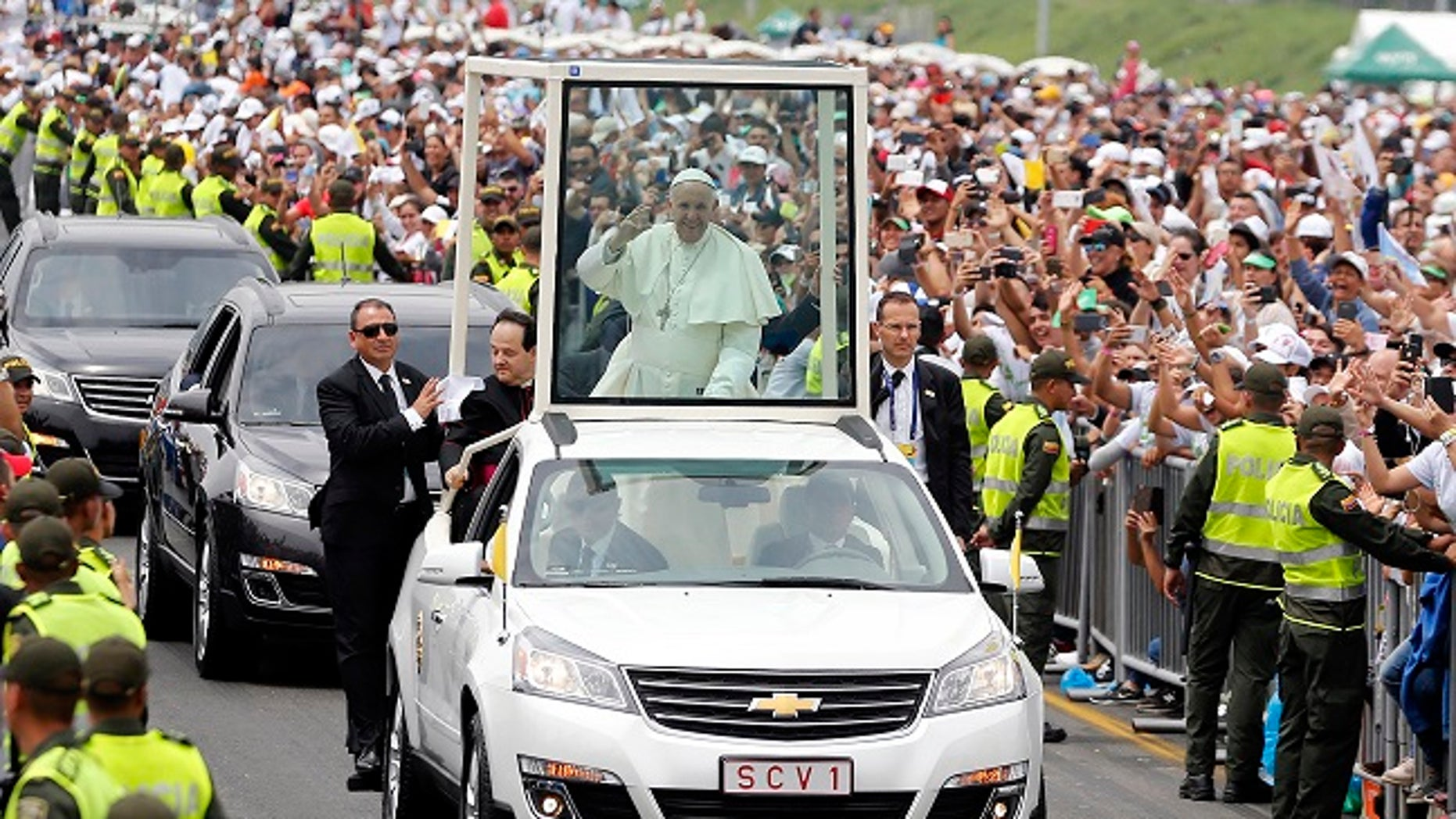 Pope Francis visits Medellin, Colombia, Saturday, Sept. 9, 2017.