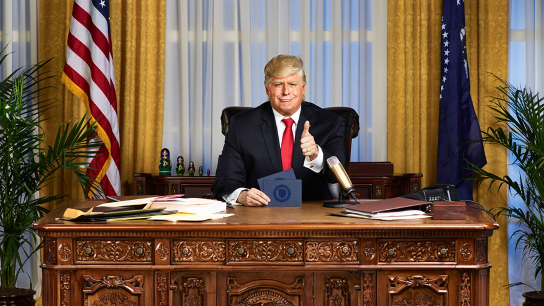 "Anthony Atamanuik as President Donald Trump on Comedy Central's ""The President Show."""