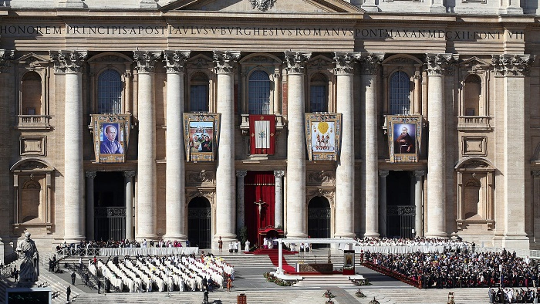 Pope Francis leads a Mass in St. Peter's Square, Vatican City, Oct. 15, 2017.