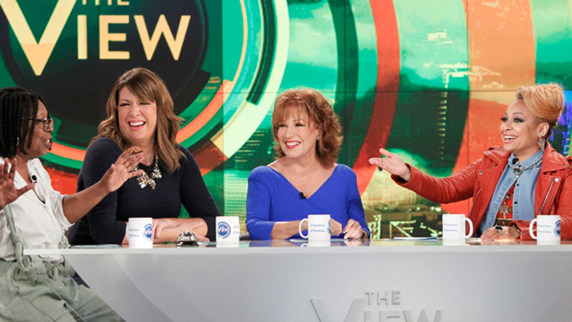 "Sept 9, 2015. From left, Whoopi Goldberg, Michelle Collins, Joy Behar and Raven-Symone appear on the daytime talk show ""The View"" in New York."