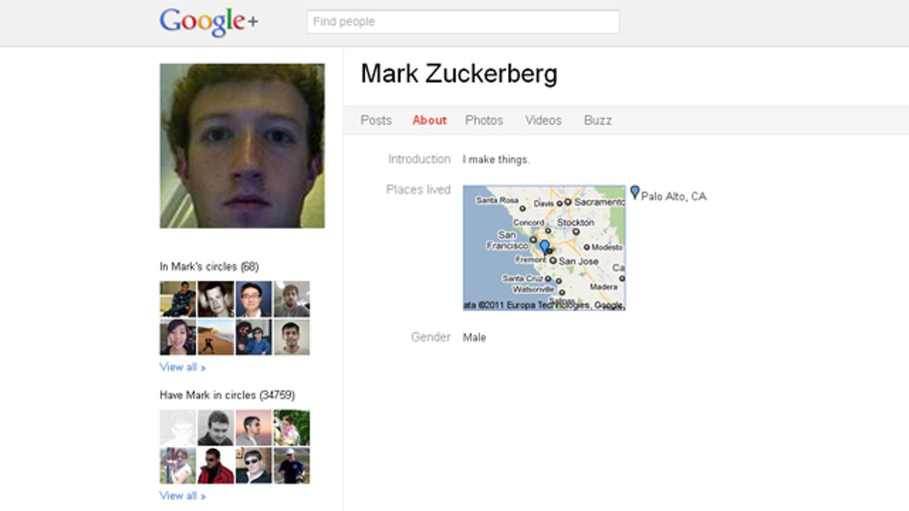 Mark Zuckerberg's Google+ profile.