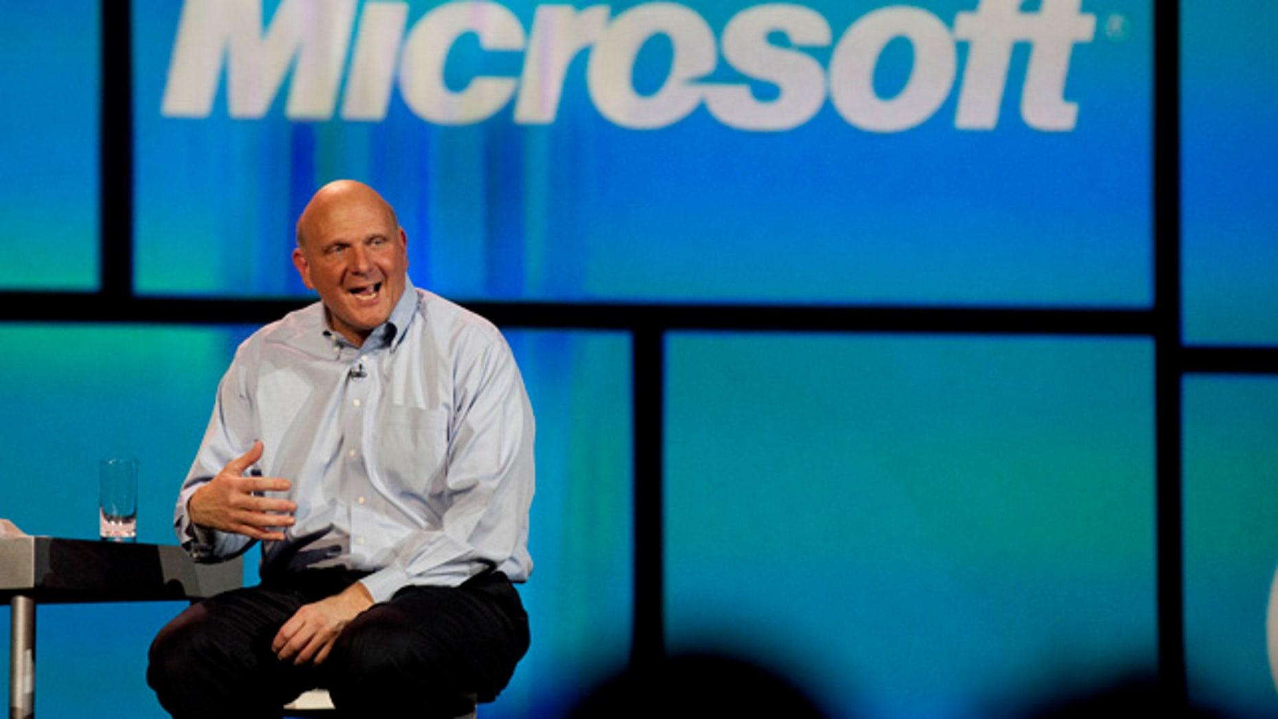 Microsoft CEO Steve Ballmer talks about Windows 8 during his keynote address at the 2012 International CES tradeshow.