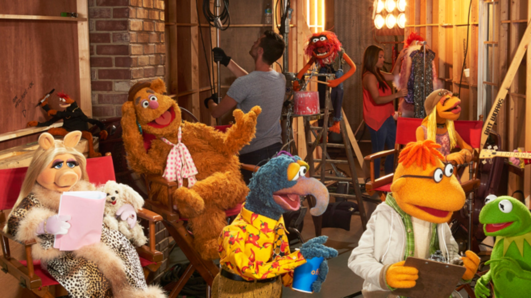 "Sept. 22, 2015: In this image released by ABC, muppet characters, from left, Miss Piggy, Pepe The King Prawn, Fozzie Bear, Gonzo, Animal, background center, Scooter, Janice, Kermit the Frog and Floyd Pepper appear in a scene from ""The Muppets."""