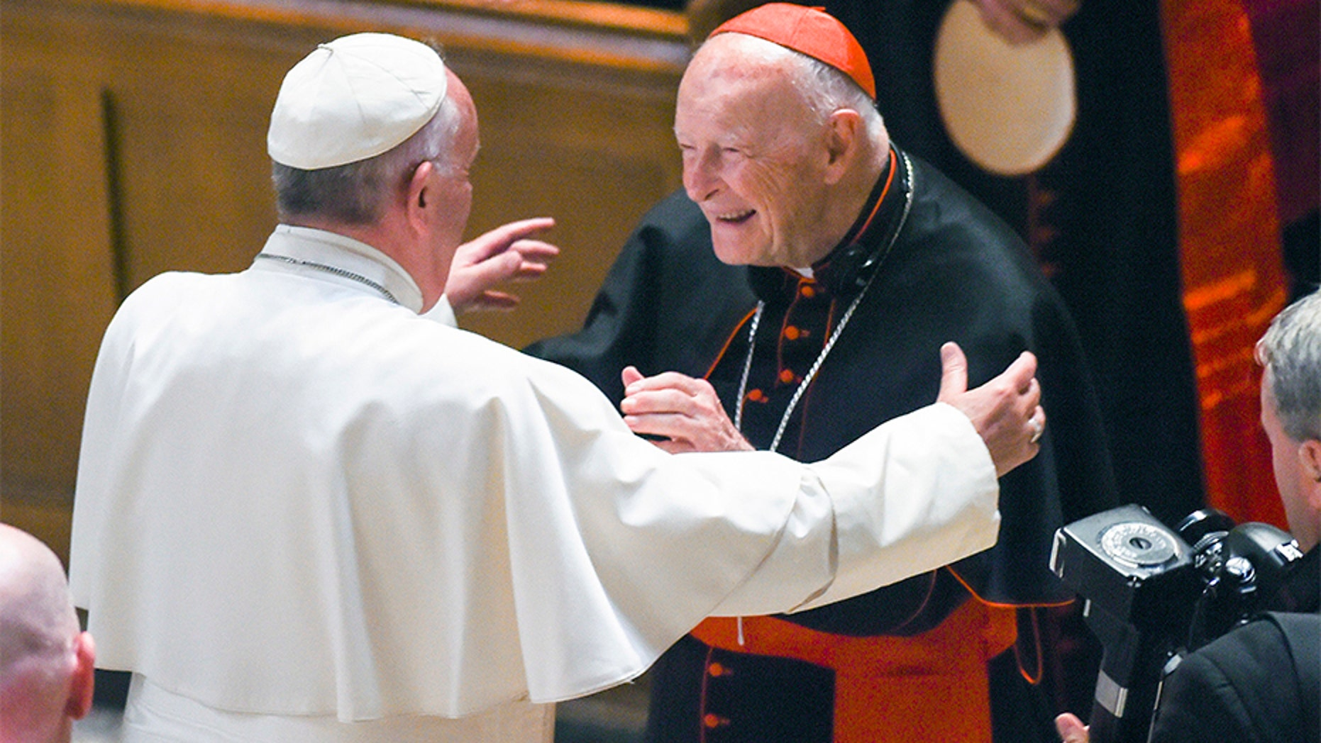 Pope Francis greets Cardinal Theodore McCarrick in this undated photo.