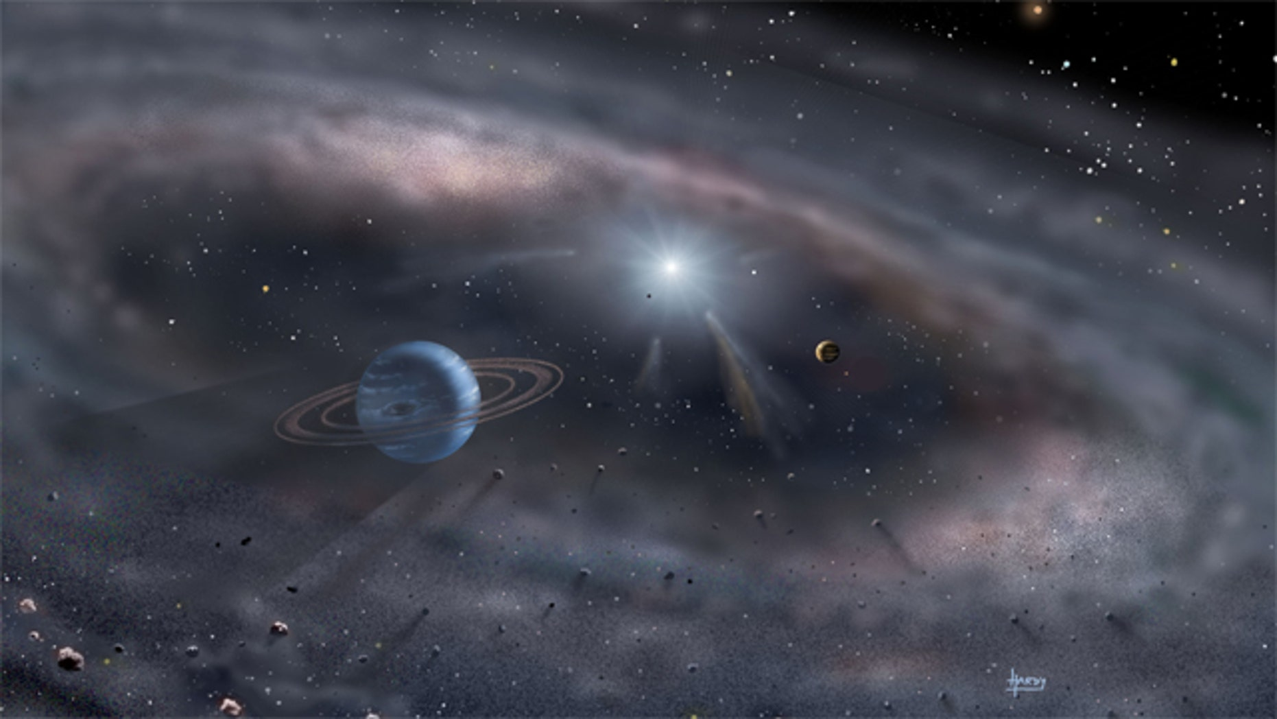 Planets form around a young star in this artist's concept.