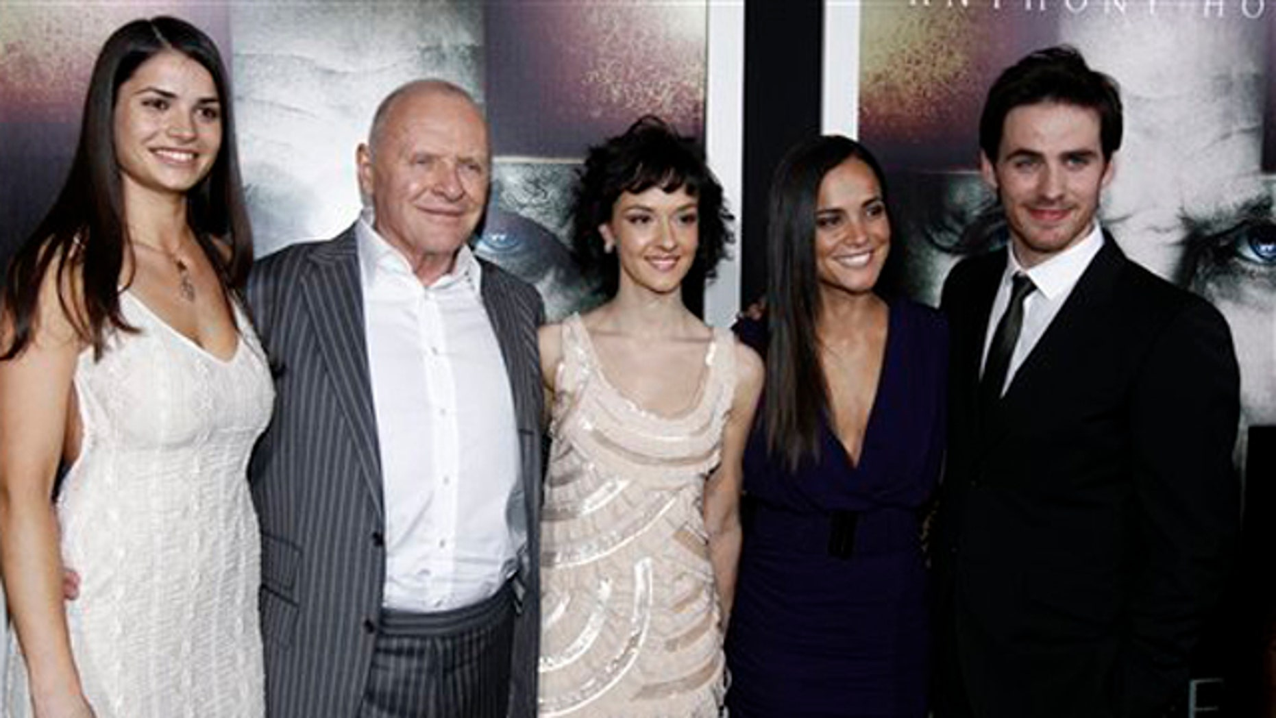 """Jan. 26, 2011: From left, cast members Marija Karan, Anthony Hopkins, Marta Gastini, Alice Braga, and Colin O'Donoghue pose together at the premiere of """"The Rite"""" in Los Angeles."""