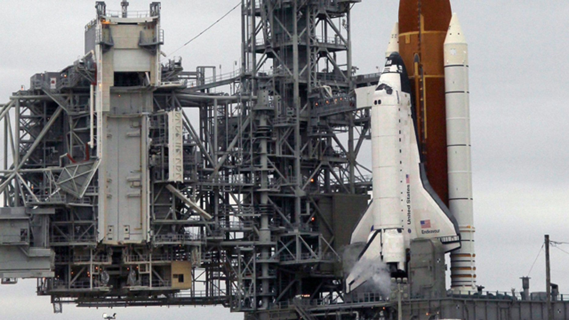 The space shuttle Endeavour sits on Launch Pad 39-A during fueling at Kennedy Space Center in Cape Canaveral, Fla., Friday, April 29, 2011. Endeavour, on her final flight, is scheduled to lift off this afternoon on an 14-day mission to the international space station.
