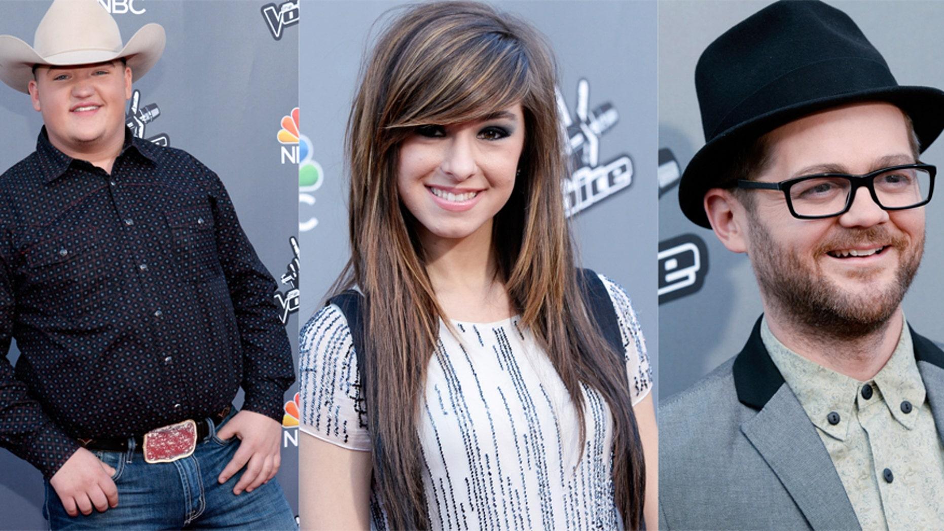 The top 3 'Voice' finalists: Team Blake's Jake Worthington (L), team Adam's  Christina Grimmie (C) and team Usher's Josh Kaufman.