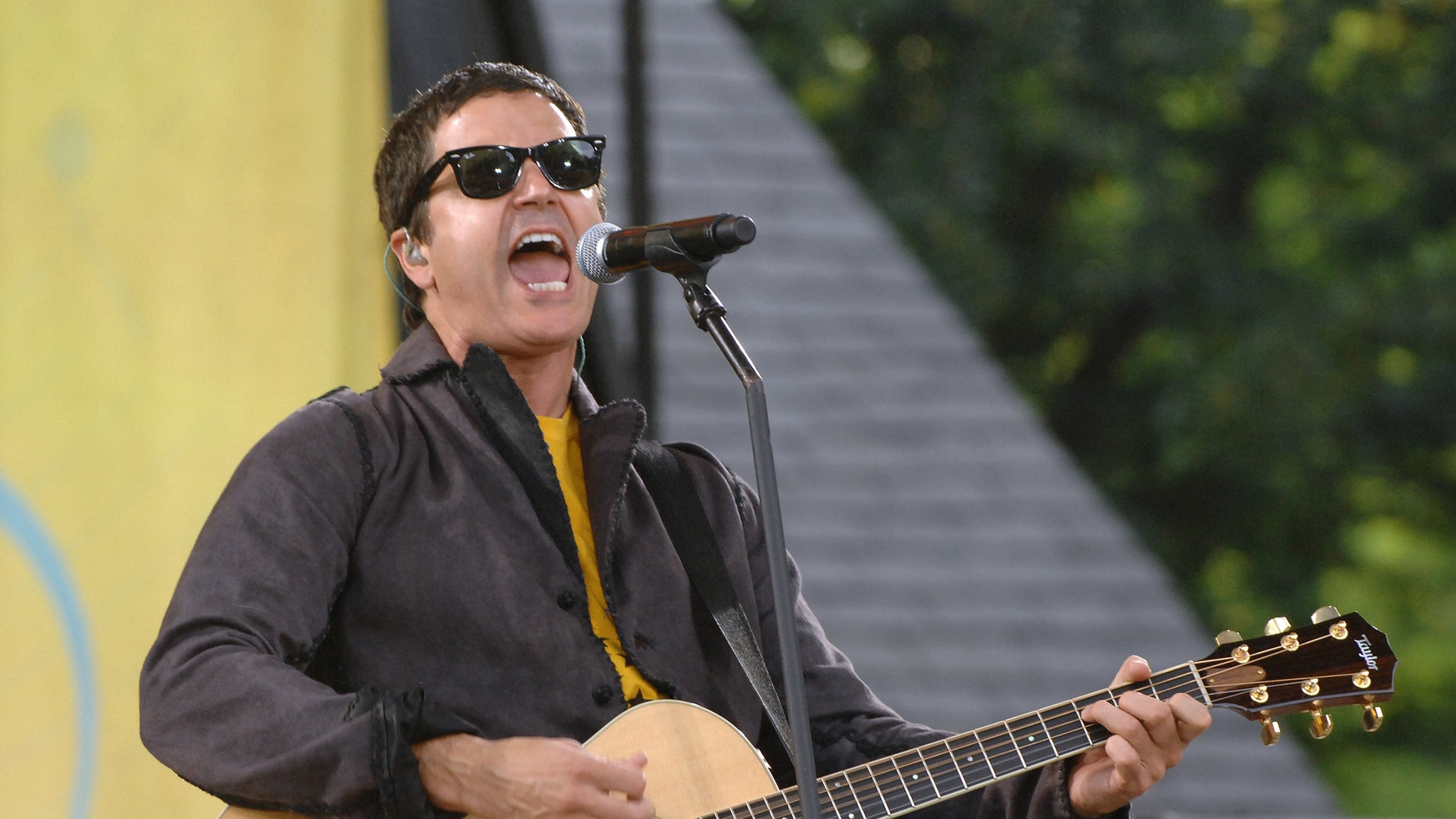 "FILE - In this July 17, 2009, file photo, musician Stephan Jenkins of the music group Third Eye Blind performs on ABC's ""Good Morning America"" in New York. Video shows Jenkins making political statements during a charity concert at the Rock and Roll Hall of Fame in Cleveland on Tuesday, July 19, 2016. (AP Photo/Peter Kramer, File)"