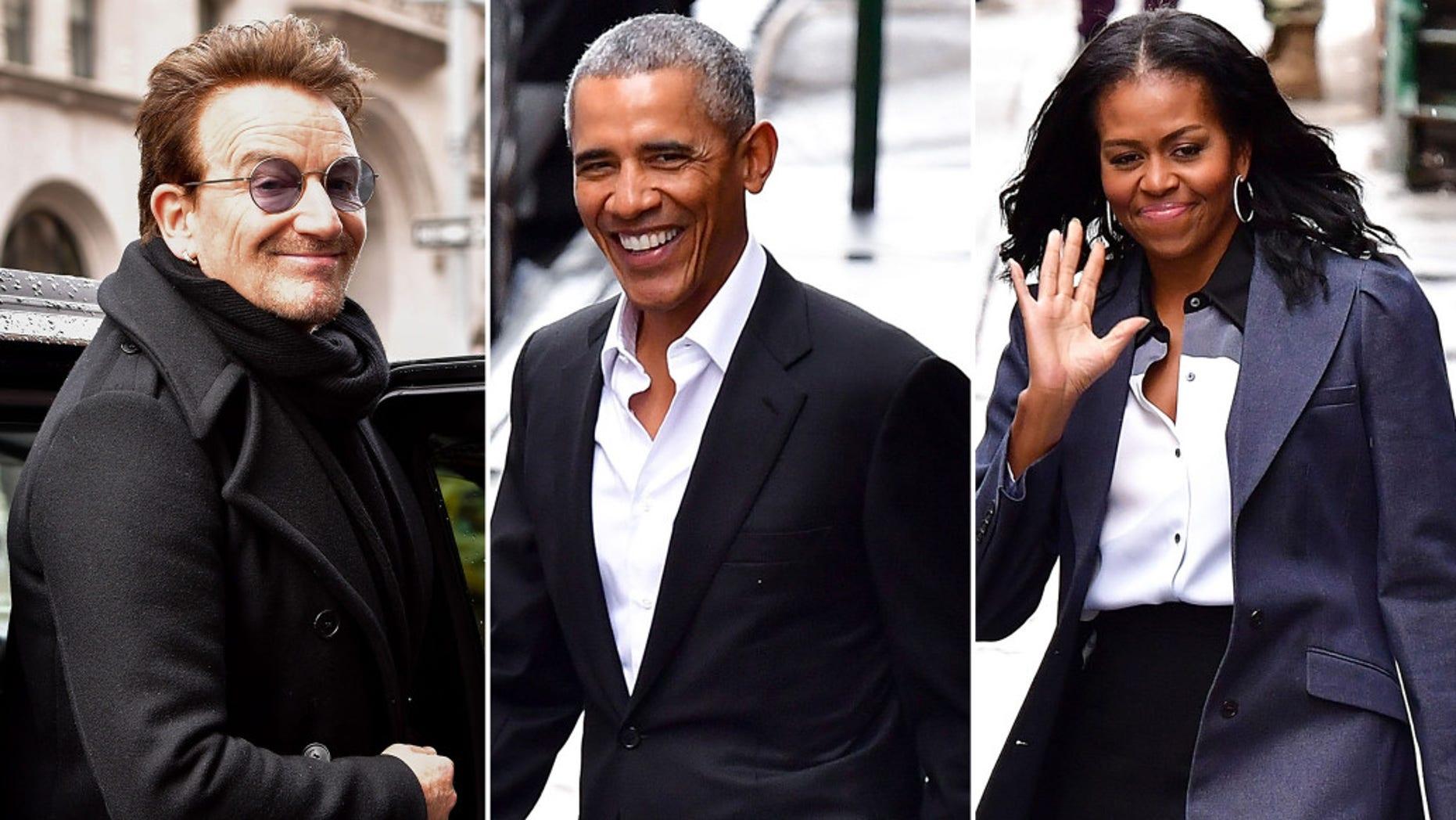 Bono, Barack Obama and Michelle Obama leave Upland.