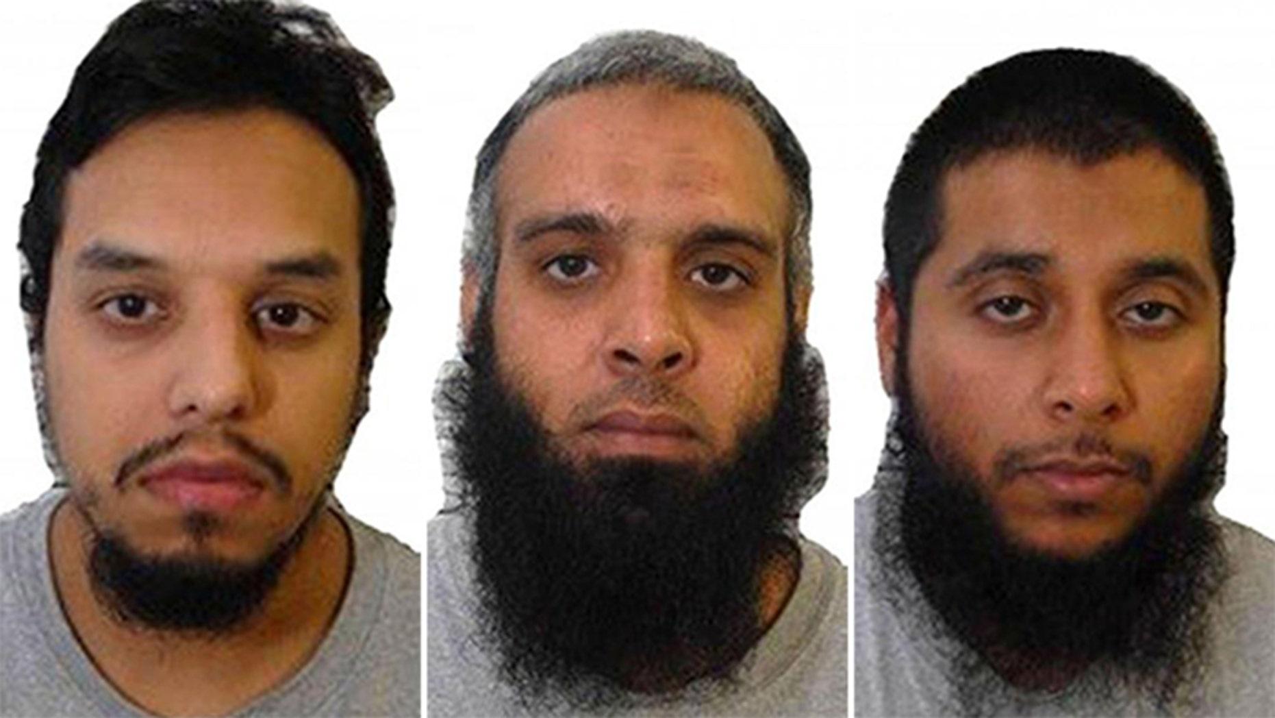 Mohibur Rahman, left, Naweed Ali and Khobaib Hussain were convicted of plotting a terror attack.