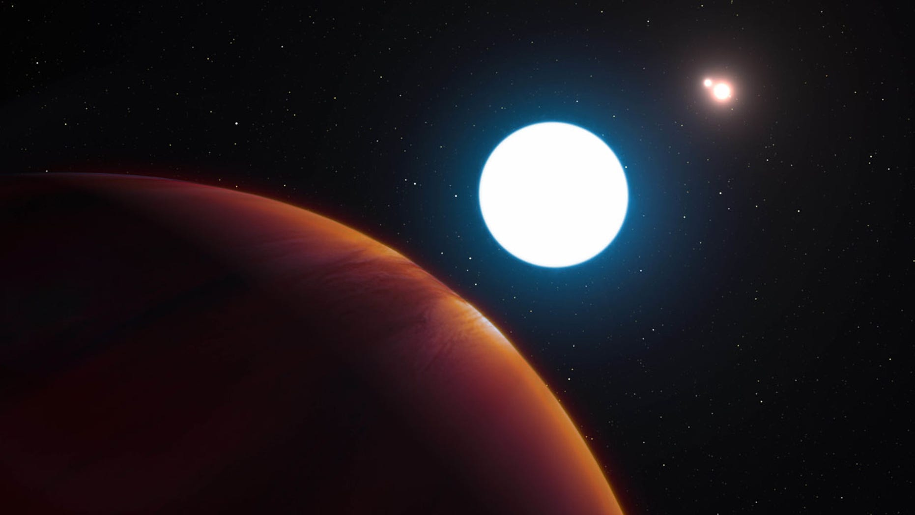 This image provided by the European Southern Observatory shows an artist's impression of the triple star system HD 131399 from close to the gas giant planet orbiting in the system. A University of Arizona-led team used an ESO telescope in Chile to find the system 320 light years away. The astronomers revealed their findings Thursday, July 7, 2016. (L. Calçada/ESO via AP)