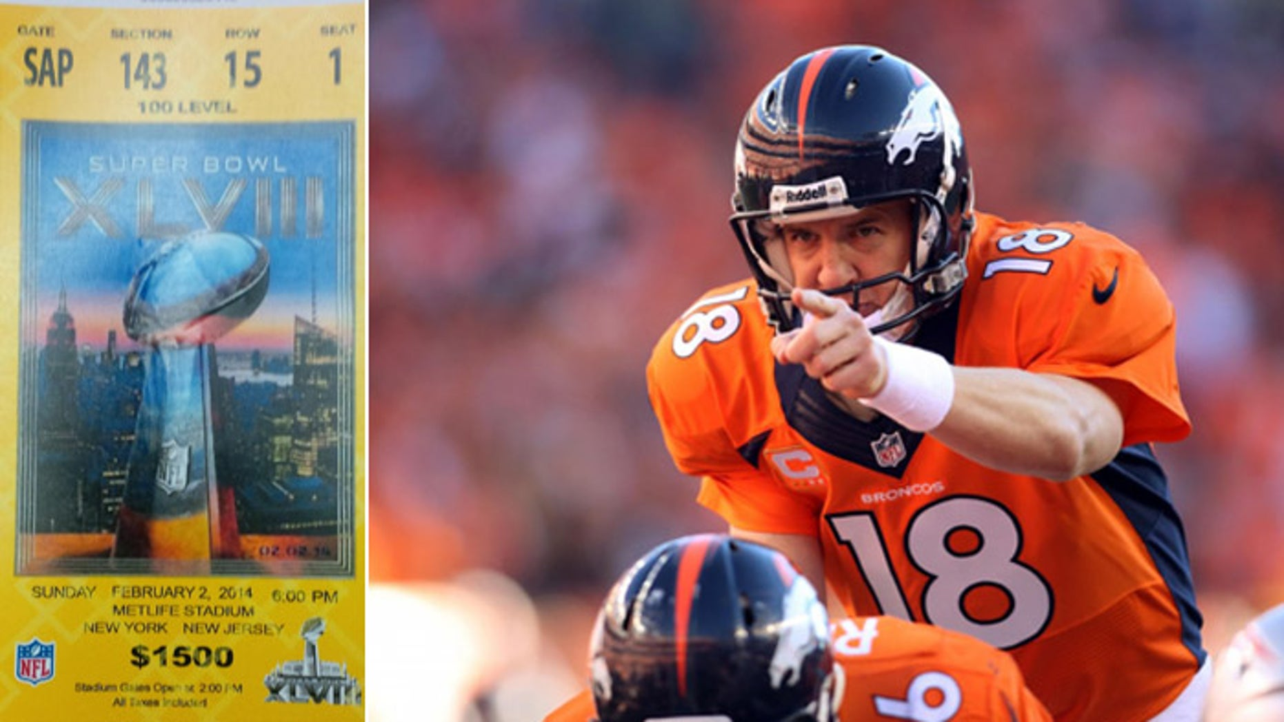 The ticket is fake, but its bar code is real enough to get a fan inside MetLife Stadium to see Peyton Manning lead the Broncos against the Seahawks in the Super Bowl. (AP)
