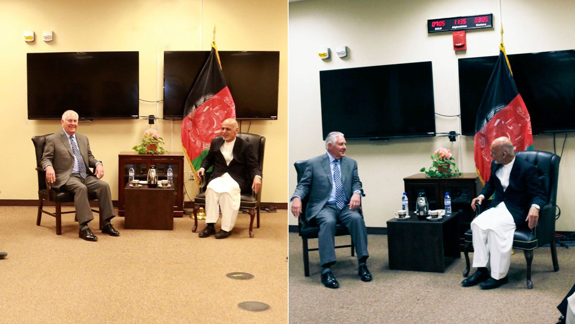 Secretary of State Rex Tillerson meets with Afghan President Ashraf Ghani.
