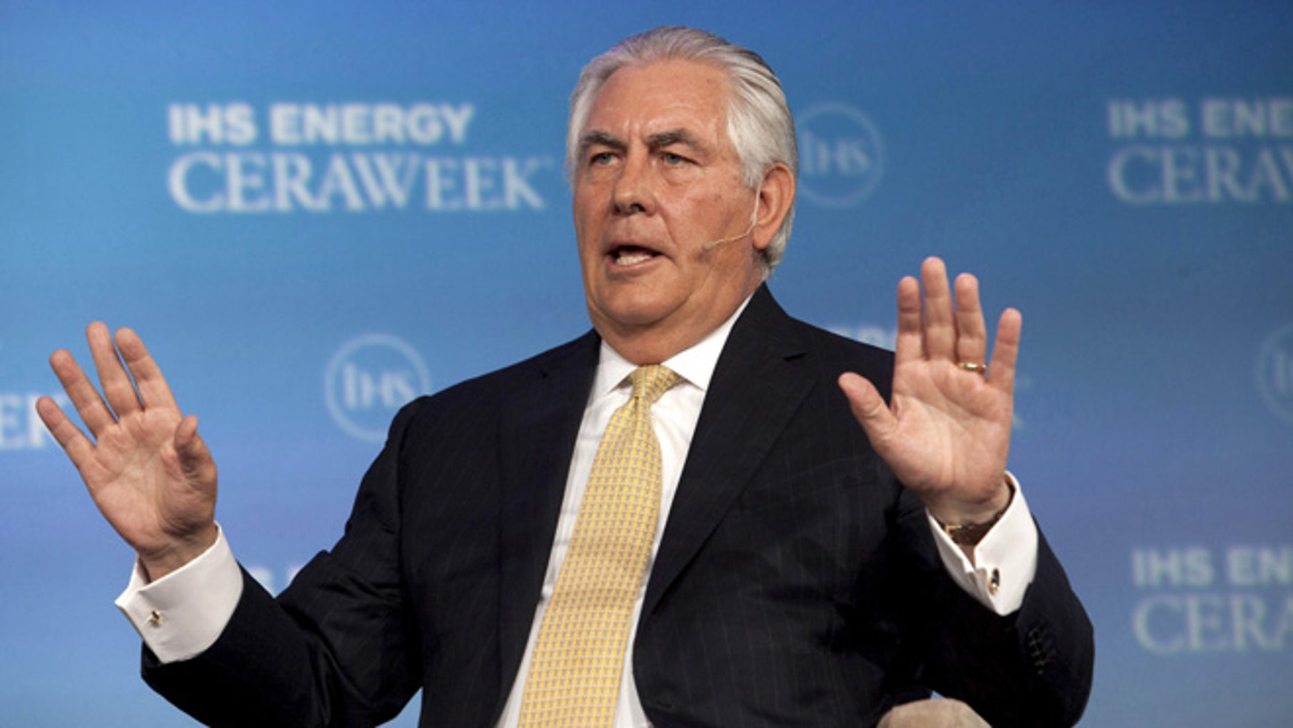 FILE -- ExxonMobil Chairman and CEO Rex Tillerson speaks during the IHS CERAWeek 2015 energy conference in Houston, Texas April 21, 2015.