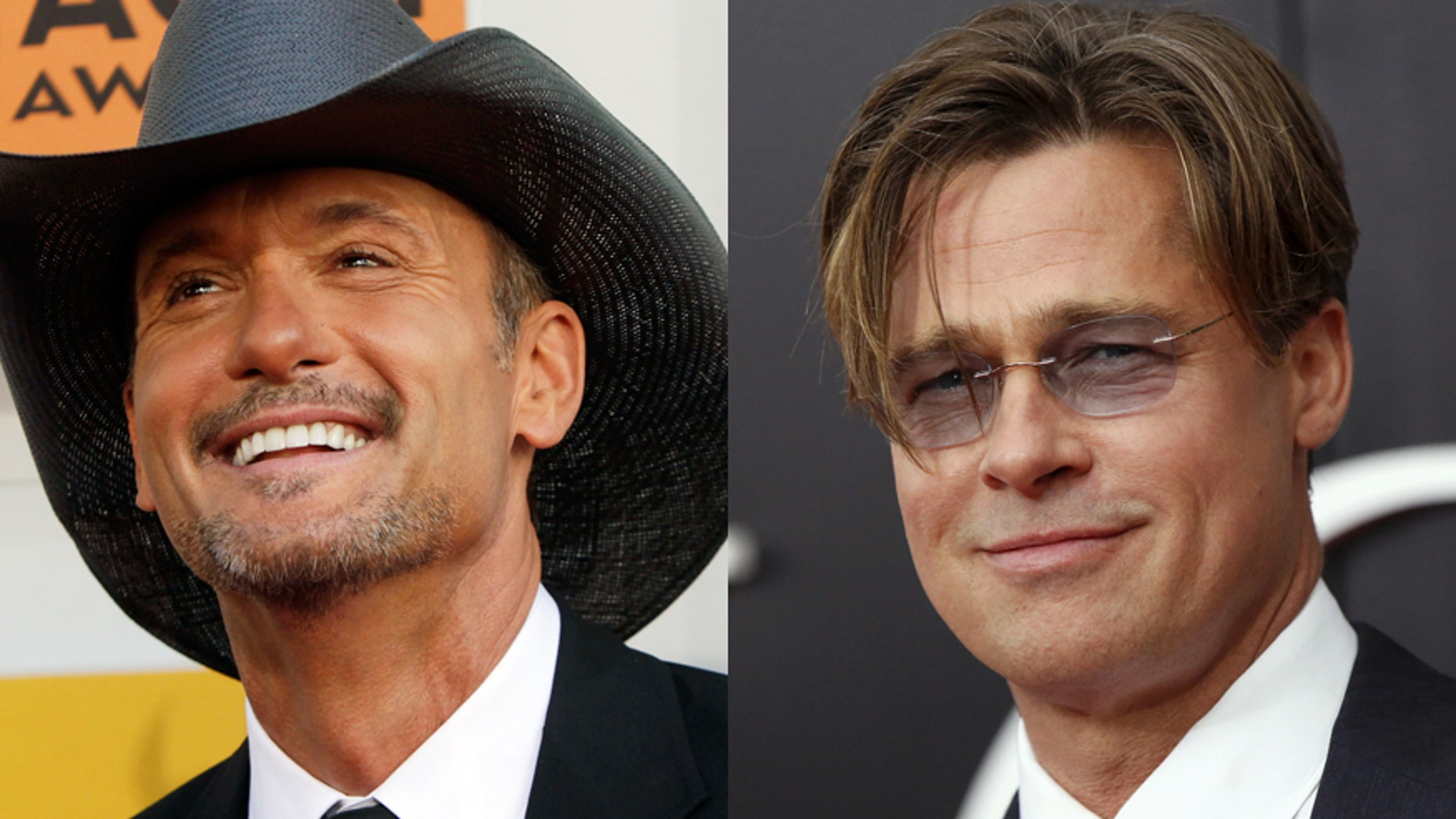 Tim McGraw, left, Brad Pitt.