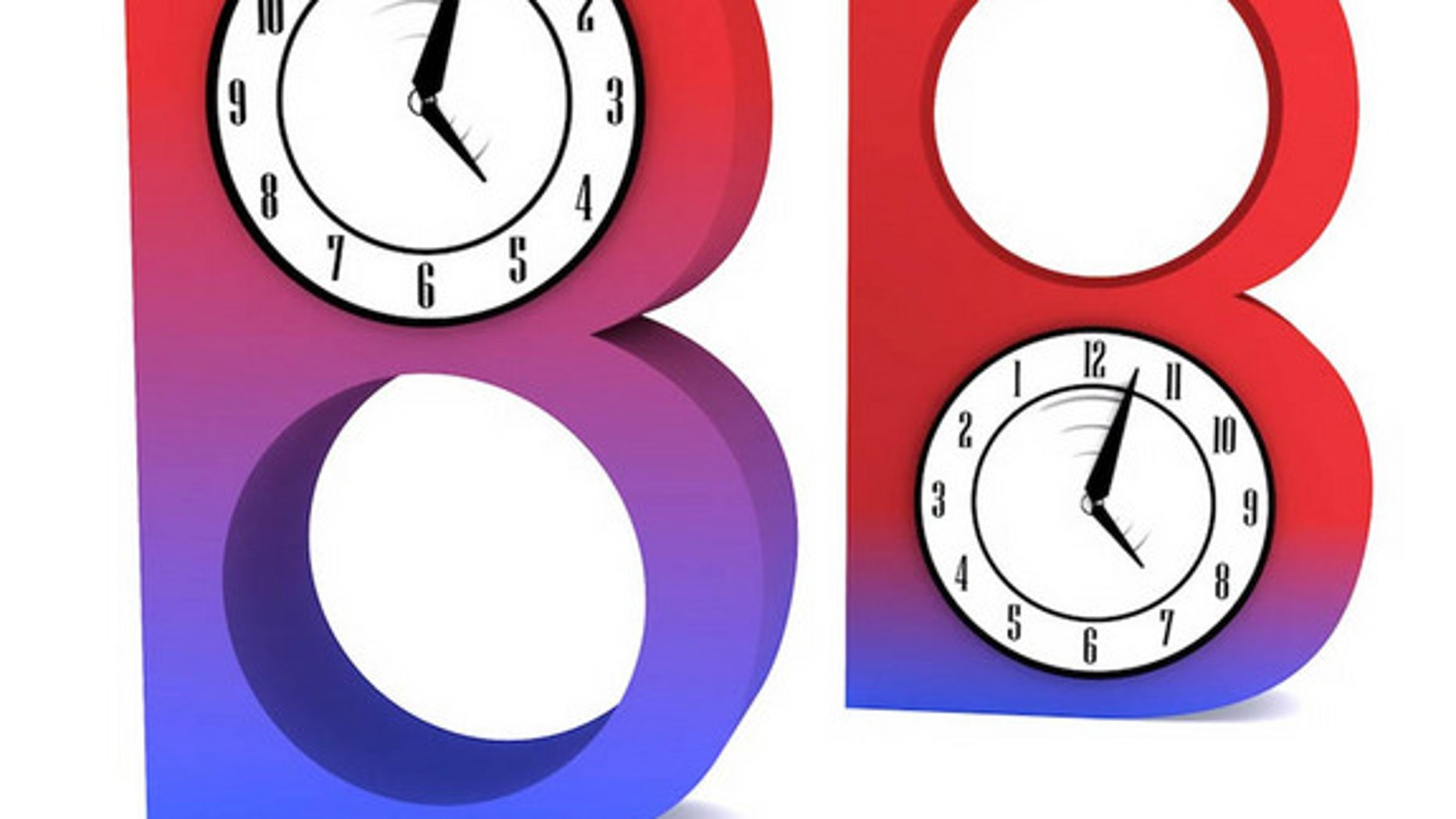 In this illustration, two different B mesons are changing between states (represented as colors); however blue-B changes into red-B more quickly than red-B changes into blue-B (a process running in reverse-time, as shown by the backwards clock