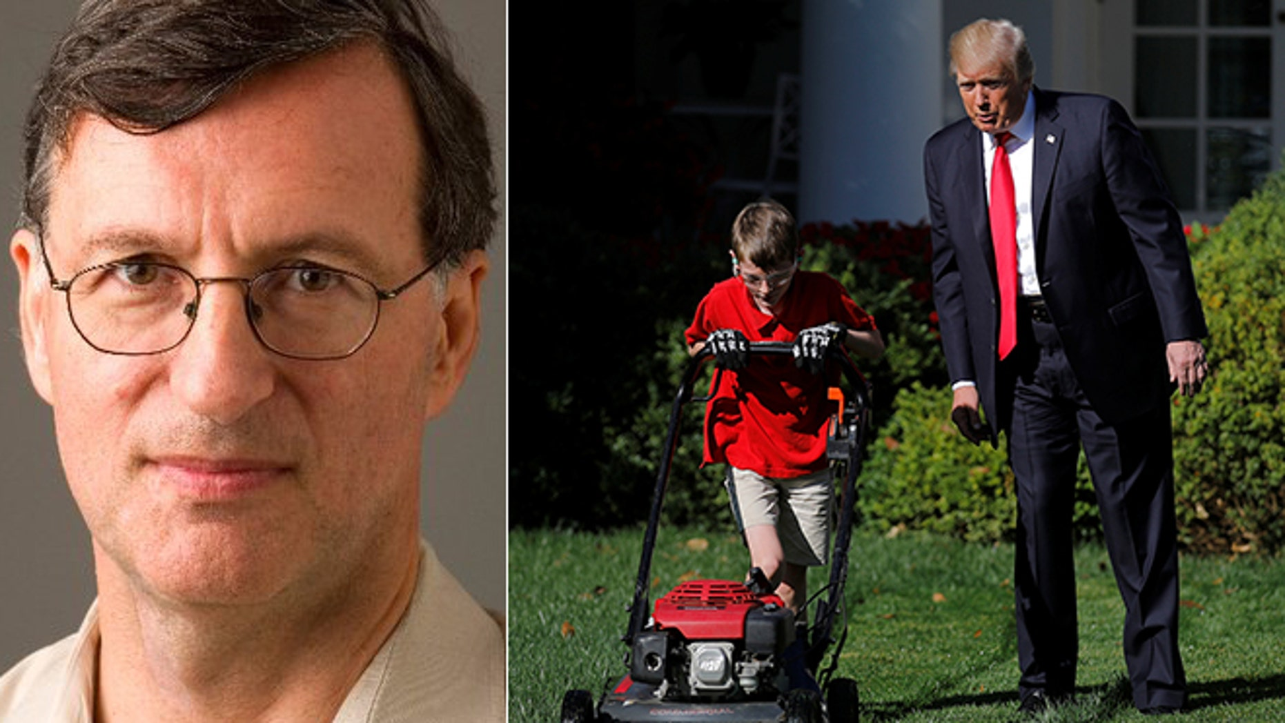Steven Greenhouse, left, tweeted that the lawn-mowing gig was 'not sending a great signal on child labor, minimum wage & occupational safety.'