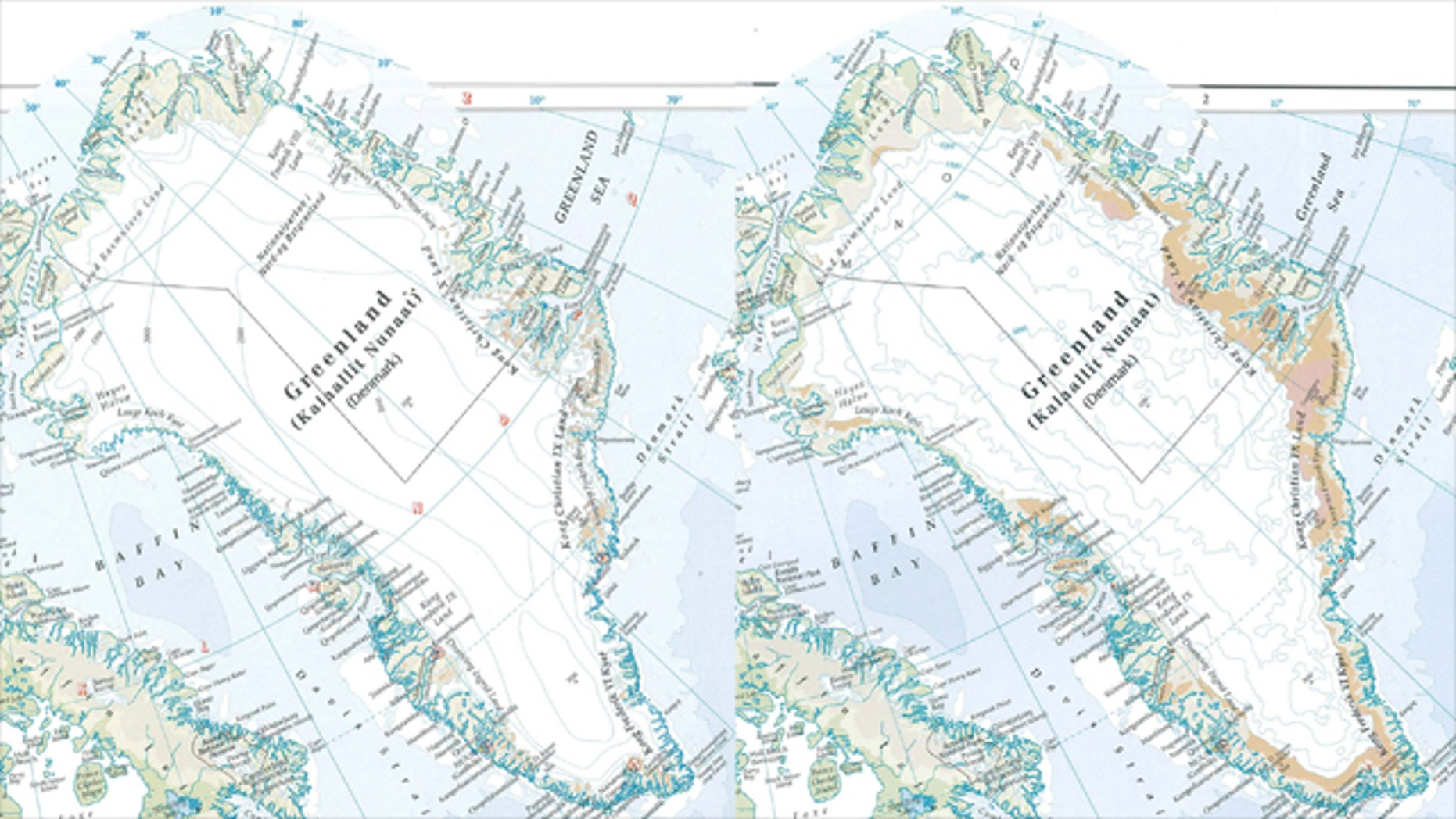 "The latest ""Times Comprehensive Atlas of the World"" shows Greenland with 15 percent less ice cover between 1999 (left) and 2011 (right)."