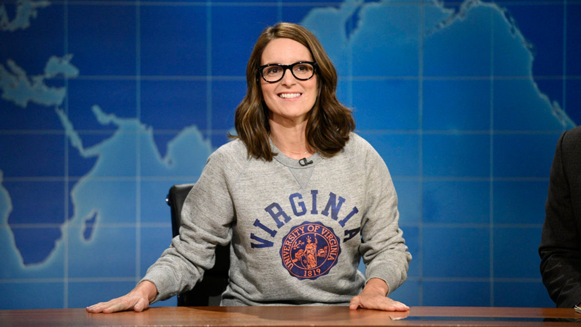 Tina Fey at the Weekend Update desk on August 17, 2017.