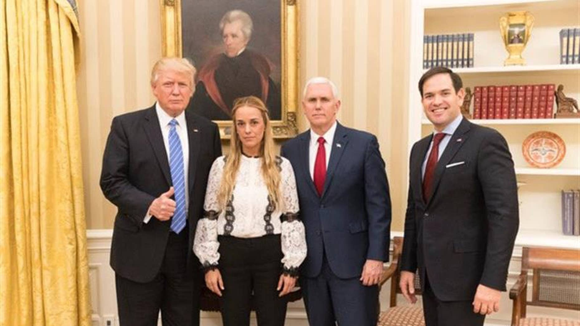 Photo provided by Lilian Tintori. at the Oval Office of the White House, on Feb. 15, 2017.