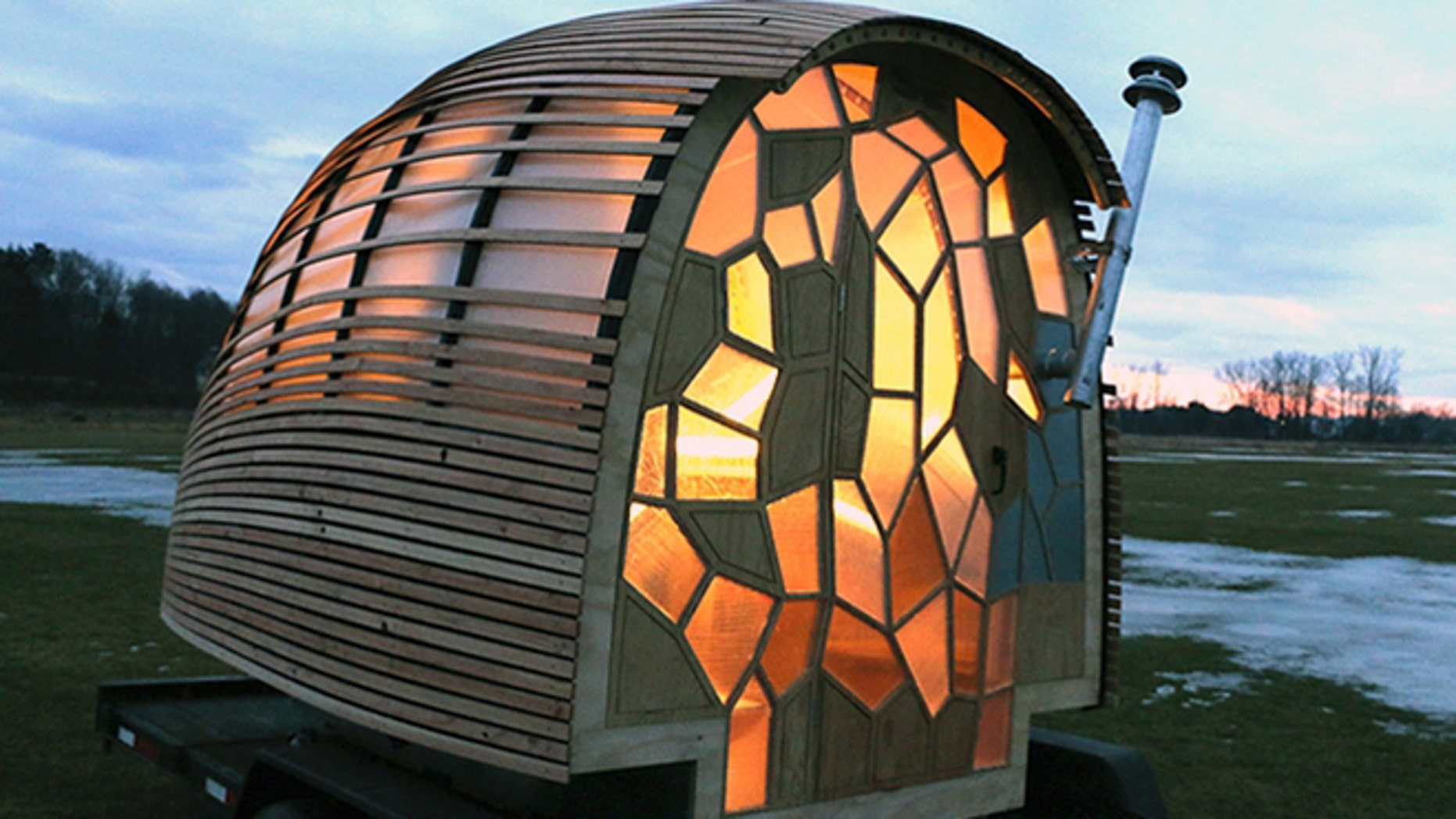 Made by 16 college kids from Vermont, the OTIS pod home features a rainwater collection system for indoor plumbing and stained-glass like privacy windows. It can also be towed by a four-cylinder vehicle.