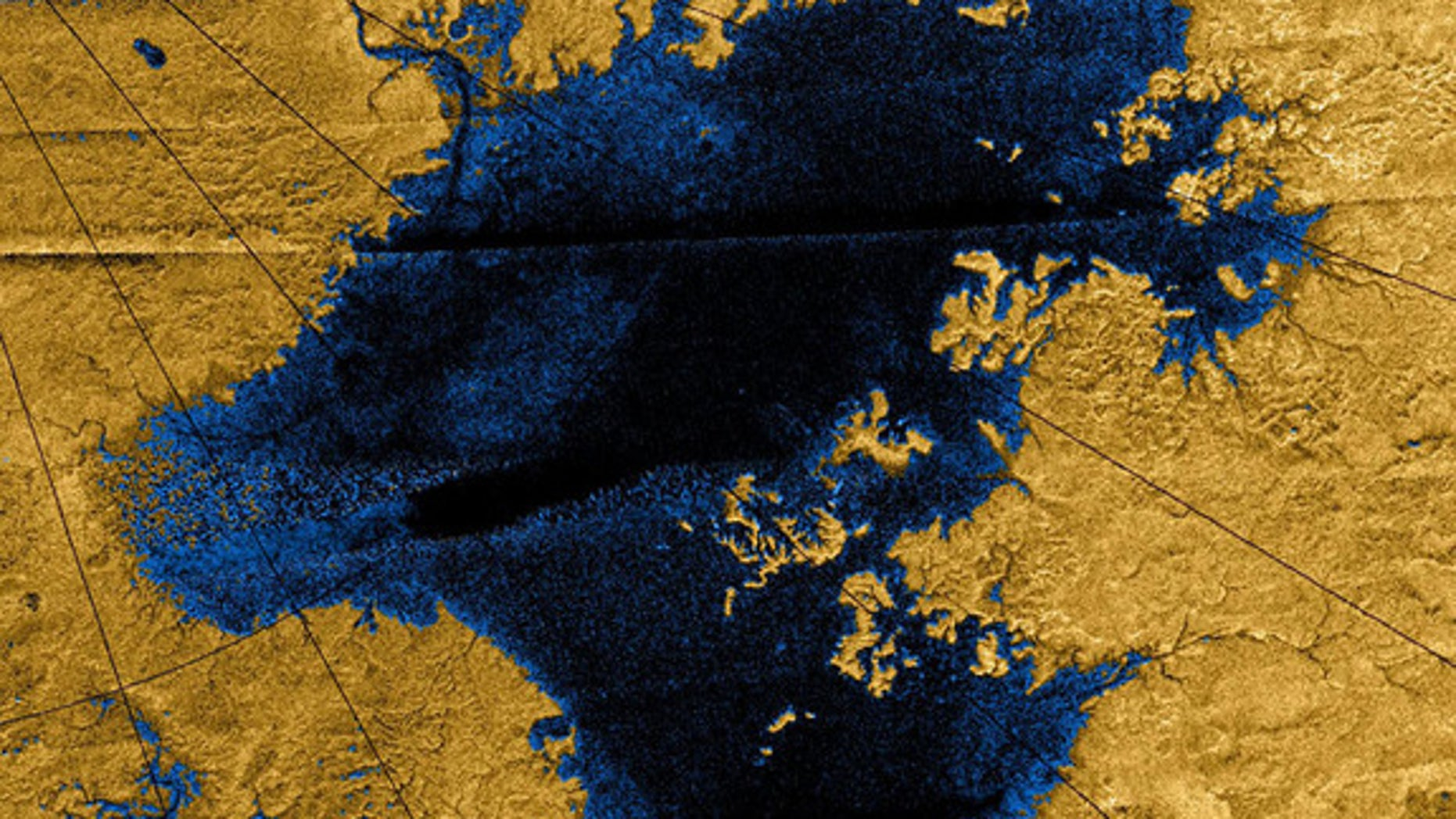 Images from NASA's Cassini mission show river networks draining into lakes in Titan's north polar region.