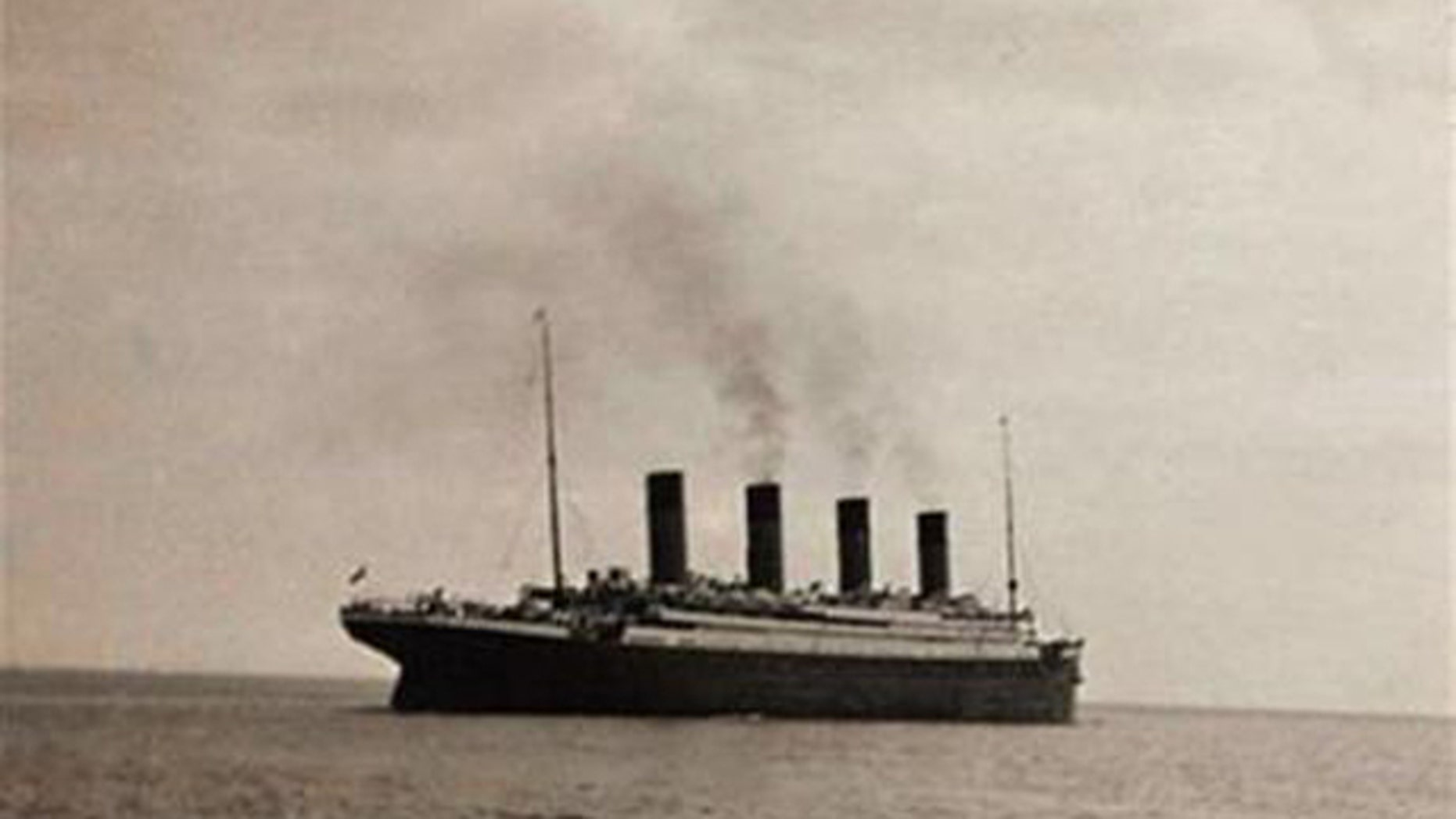 The RMS Titanic in what is thought to be the last known image of the ship as she sets sail from Queenstown for New York.