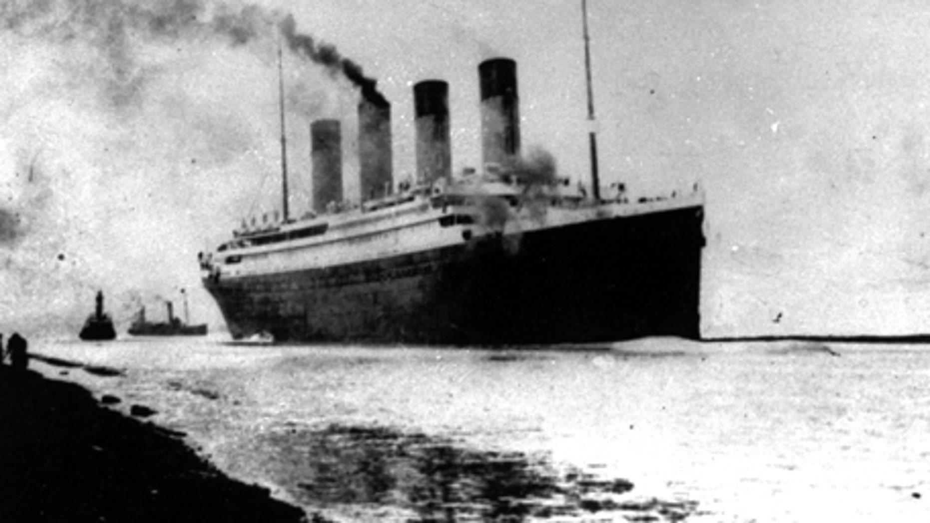 The Titanic departs Southampton, England on April 10, 1912.