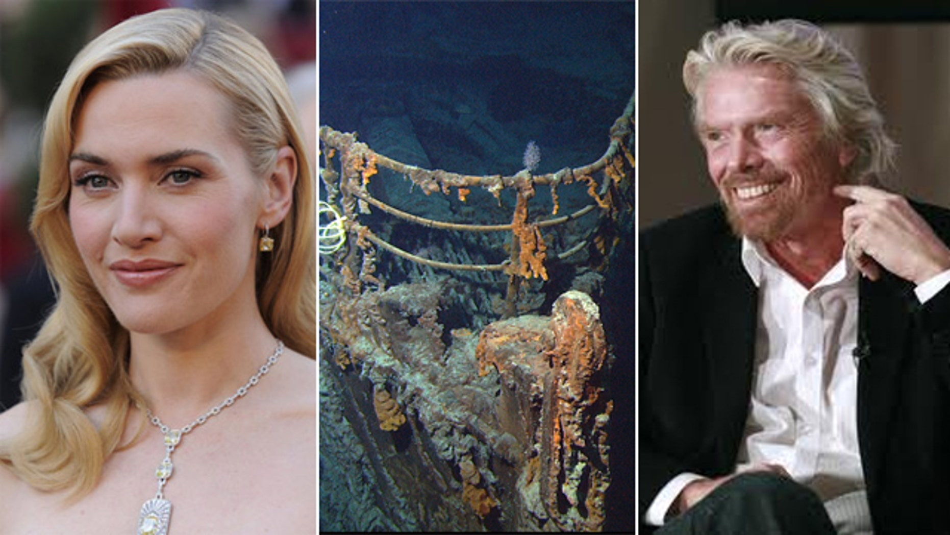 "Deep Ocean Expeditions, the company that has taken ""Titanic"" director James Cameron down to the wreck several times, wouldn't confirm if Sir Richard Branson or Kate Winslet would be taking the cenntial cruise.  But if they did, they could encounter up to 16 ft. seas and a 2.3 mile dive below the surface."