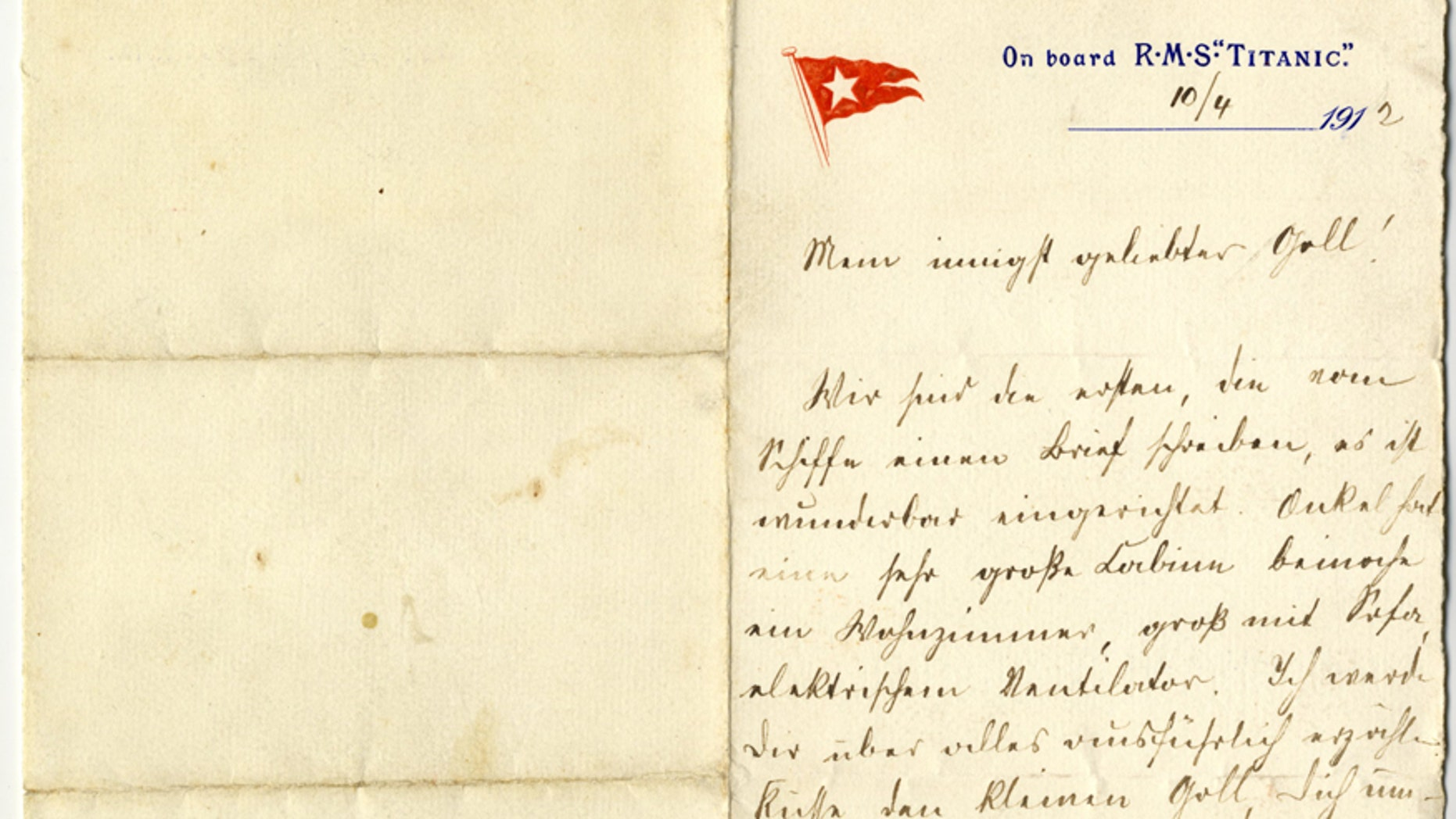 The letter written on April 10 1912 by Paul Danby to his wife Rose (Henry Aldridge & Son).