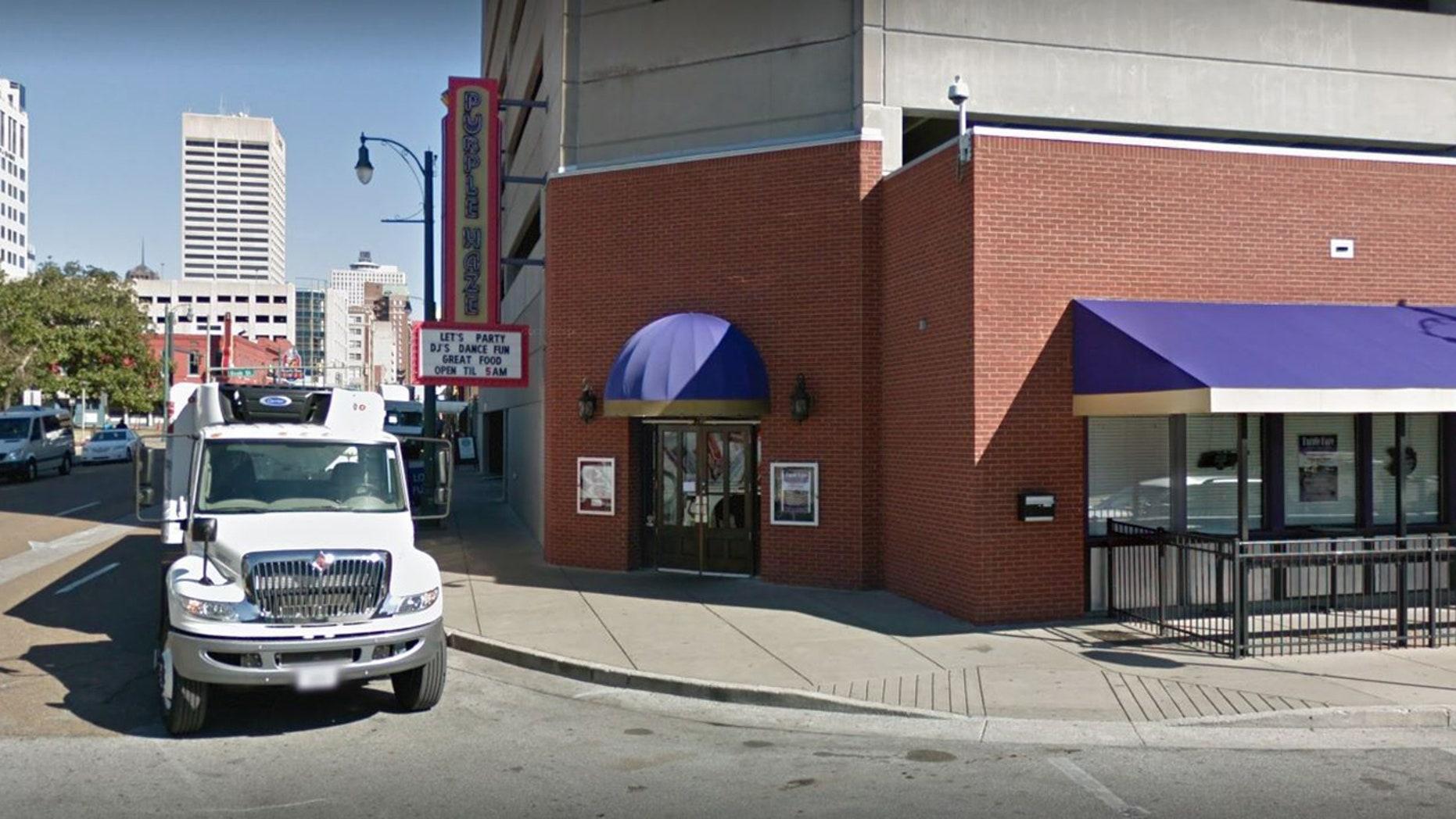 Outside the Purple Haze nightclub in Memphis.