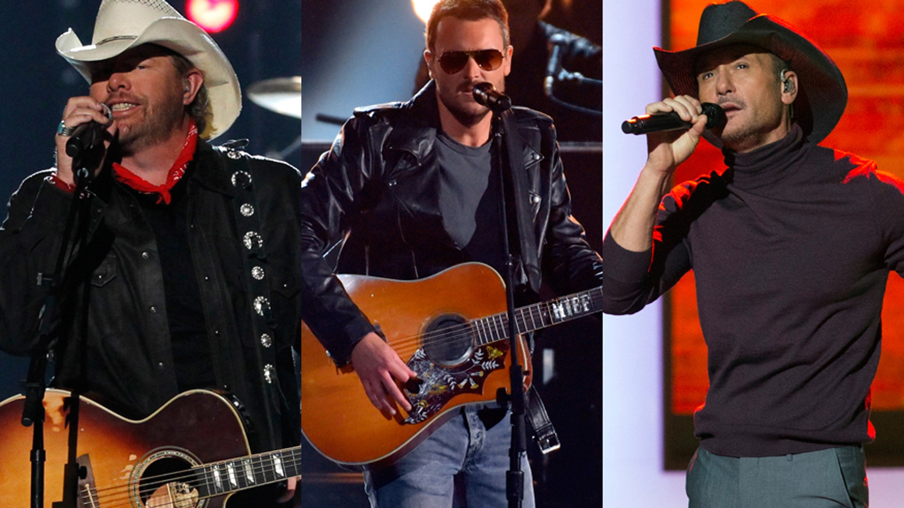Country singers from l-r: Toby Keith, Eric Church and Tim McGraw.