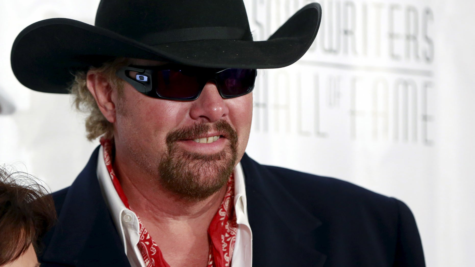 June 18, 2015. Country singer Toby Keith poses on the red carpet  before the Songwriters Hall of Fame ceremony in New York.